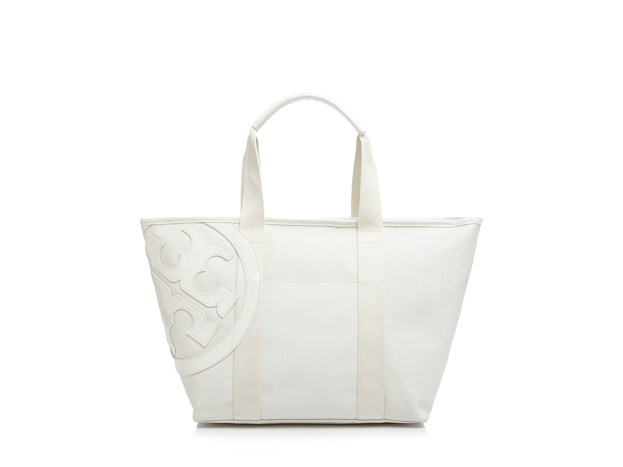 90724382eea3 Lyst - Tory Burch Small Beach Canvas Tote in White