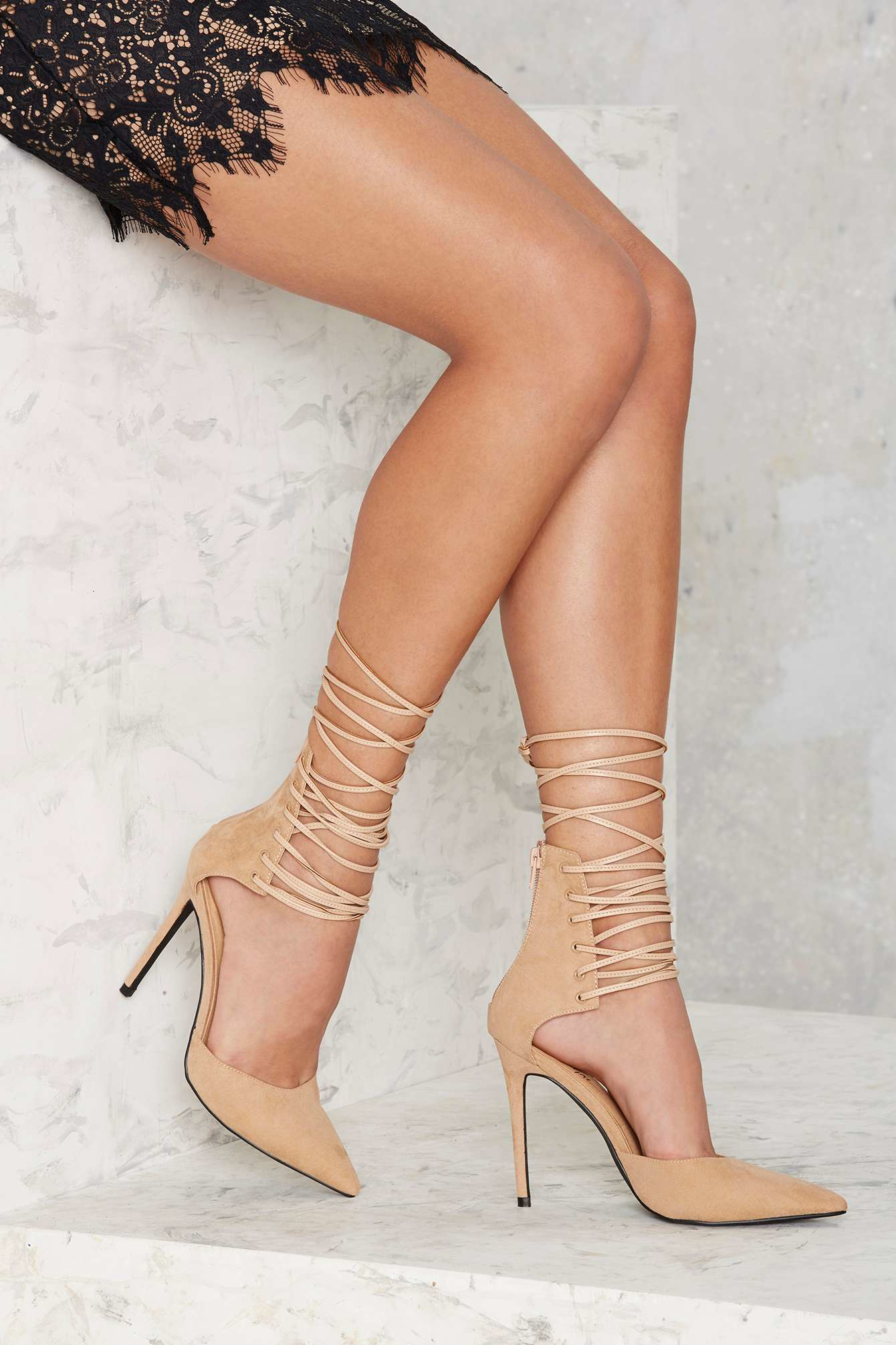Nasty gal Strap-minded Lace-up Heel - Nude in Natural | Lyst