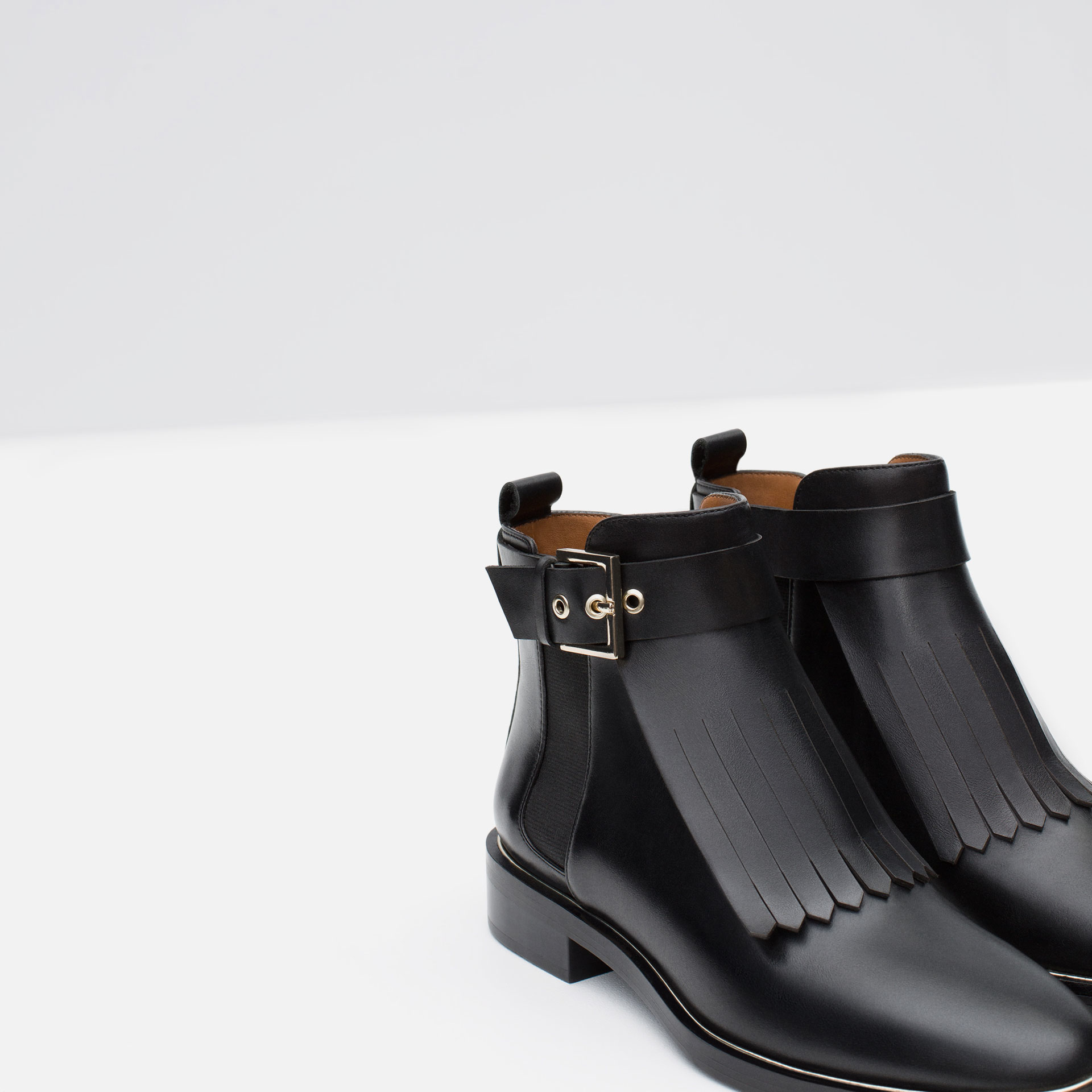 Zara Leather Ankle Boot With Fringes in Black   Lyst
