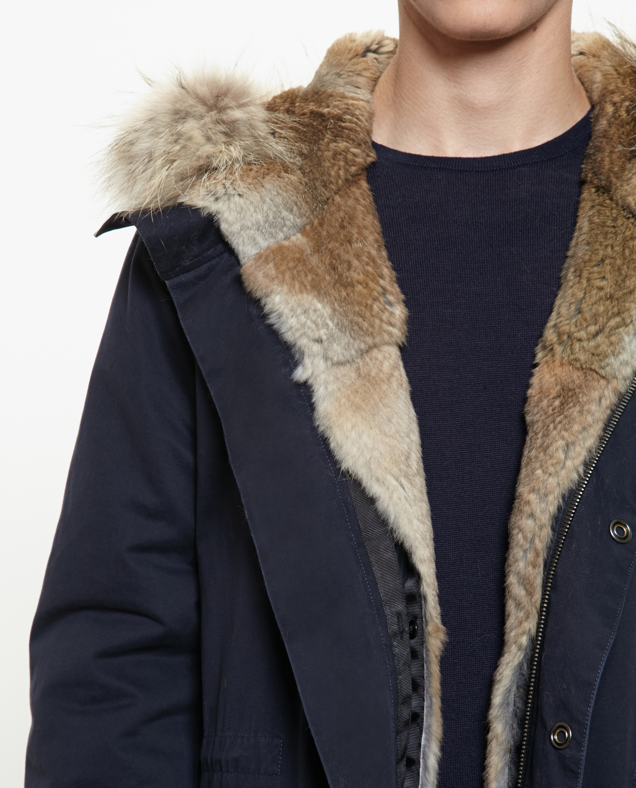 f99f10f5df33 Lyst - Yves Salomon Classic Rabbit Fur Lined Parka in Blue for Men