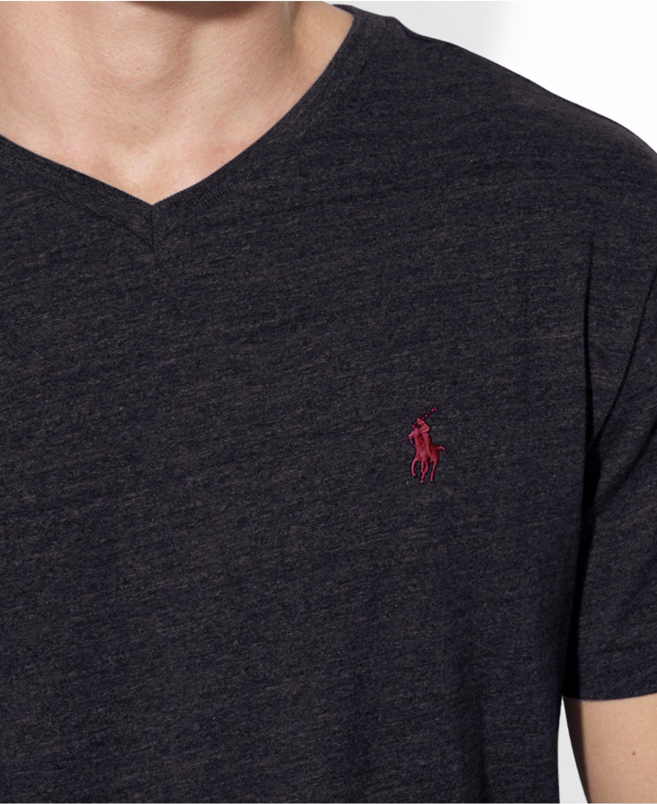 Lyst polo ralph lauren jersey v neck t shirt in black for Ralph lauren polo jersey shirt