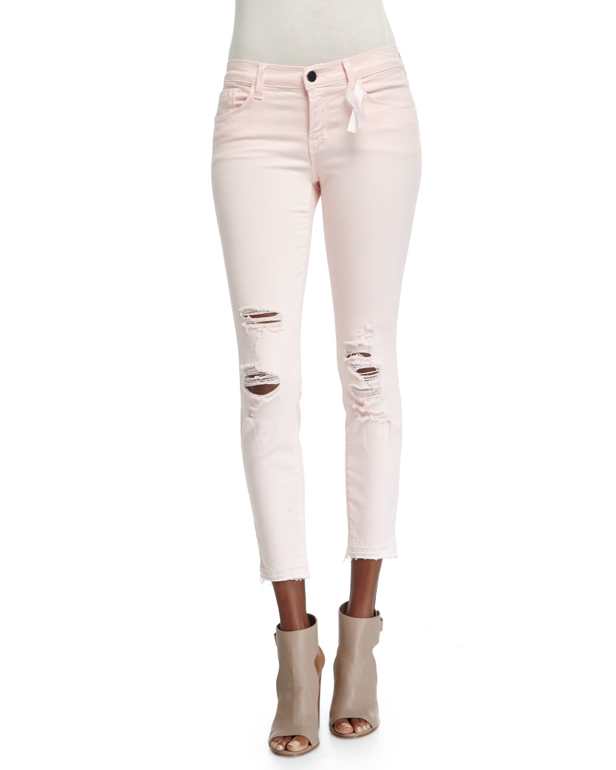 Lyst J Brand Low Rise Distressed Cropped Jeans In Pink