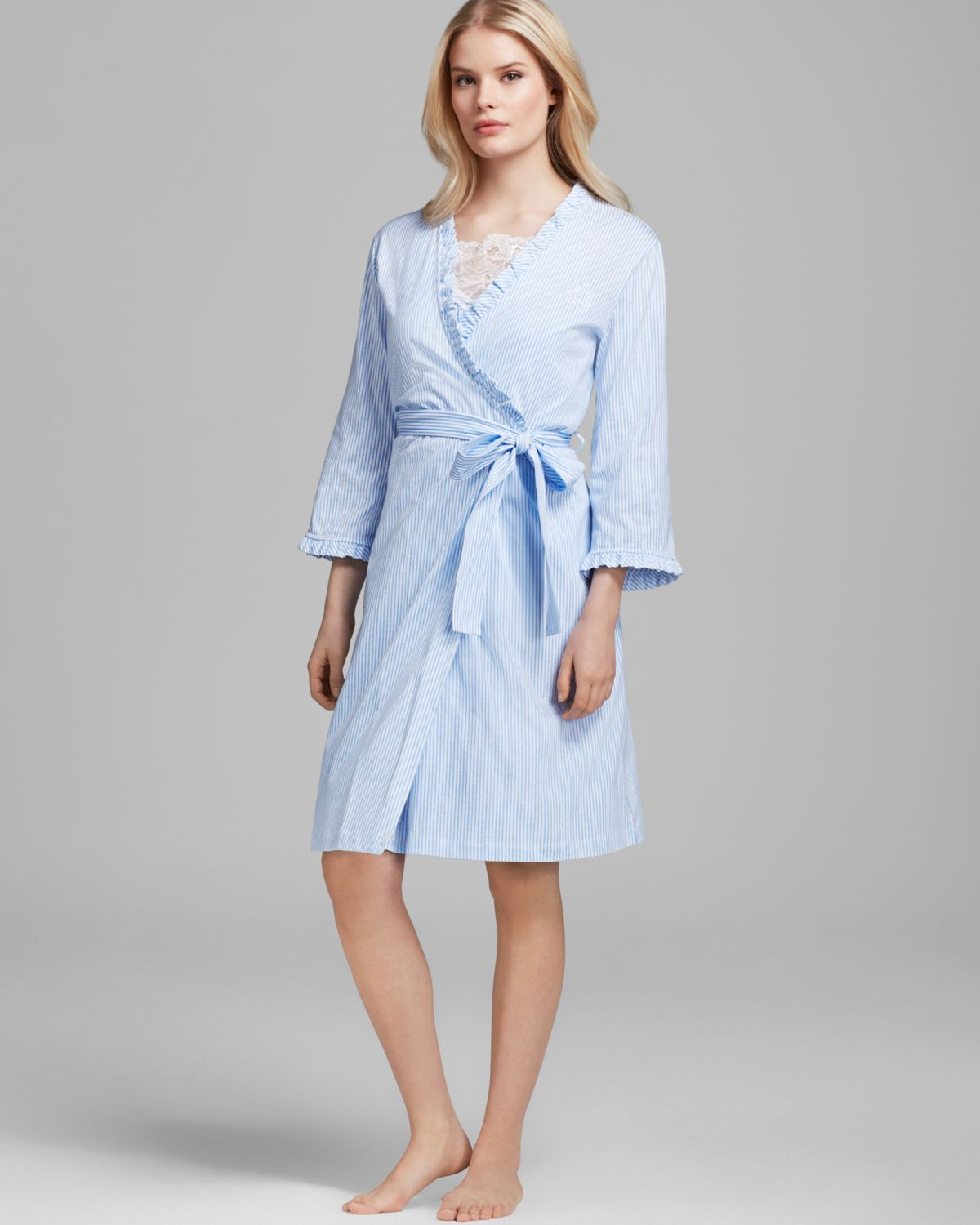lauren by ralph lauren laurelton striped knit feminine short robe in white skylark blue white. Black Bedroom Furniture Sets. Home Design Ideas