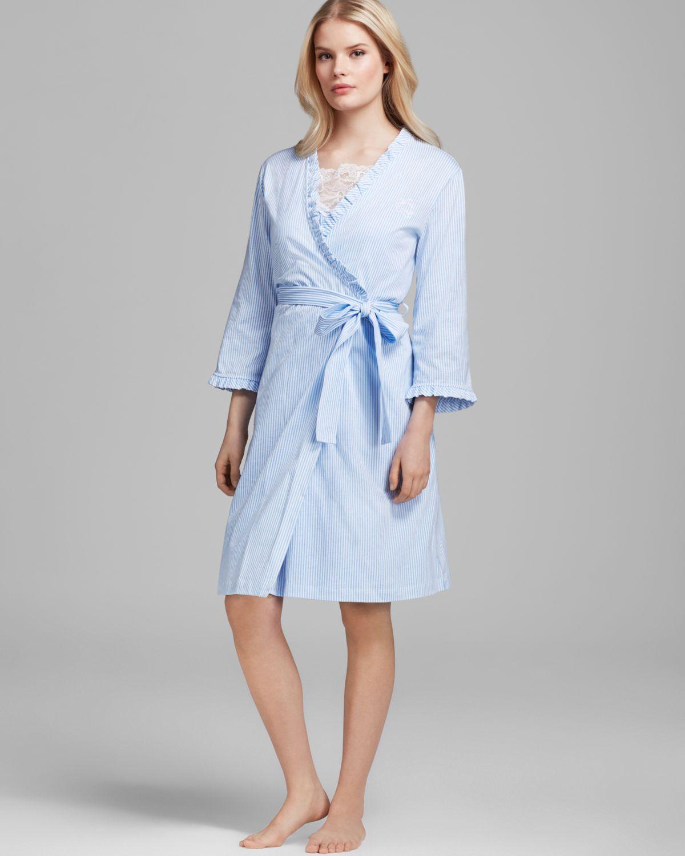lauren by ralph lauren laurelton striped knit feminine short robe in white skylark blue white. Black Bedroom Furniture Sets. Home Design Ideas
