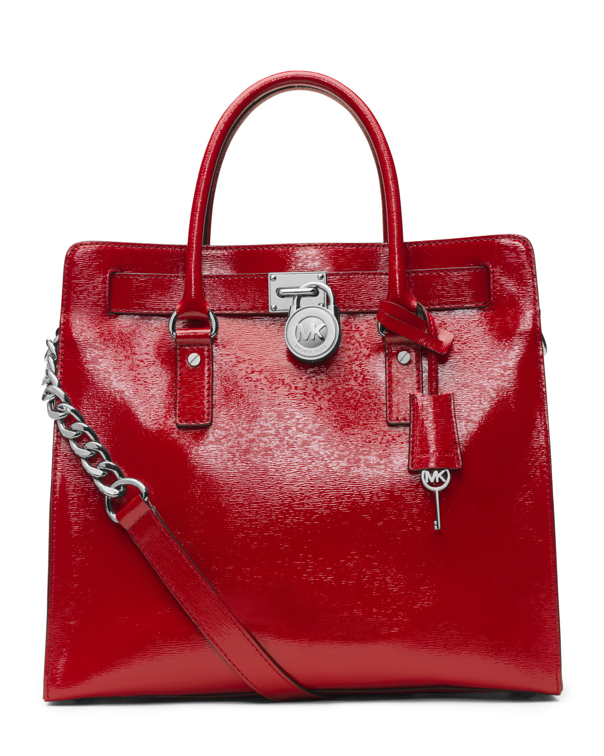 Lyst Michael Kors Michael Large Hamilton Patent Tote In Red