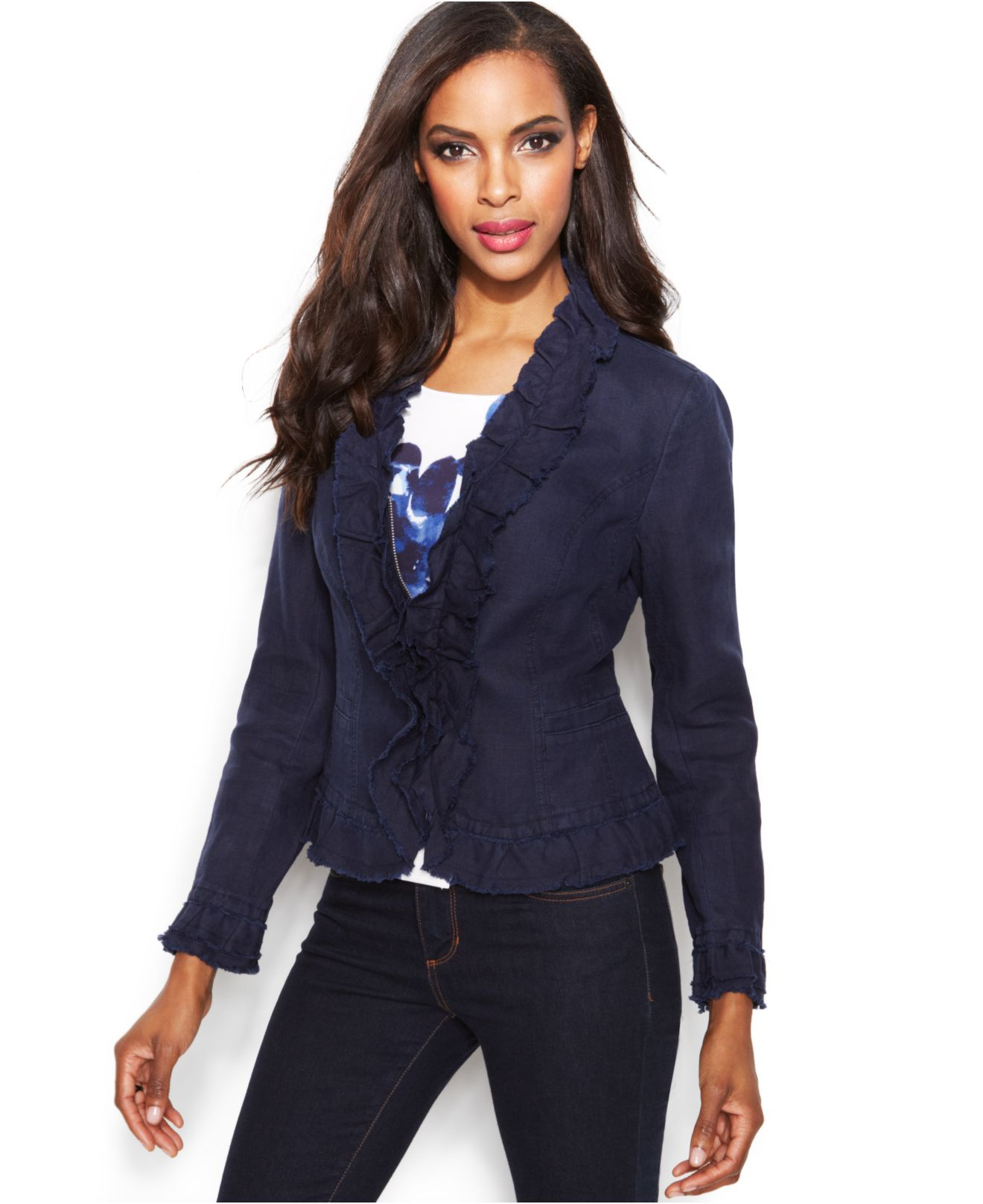Inc international concepts Zip-Up Ruffle-Trim Linen Jacket in Blue ...