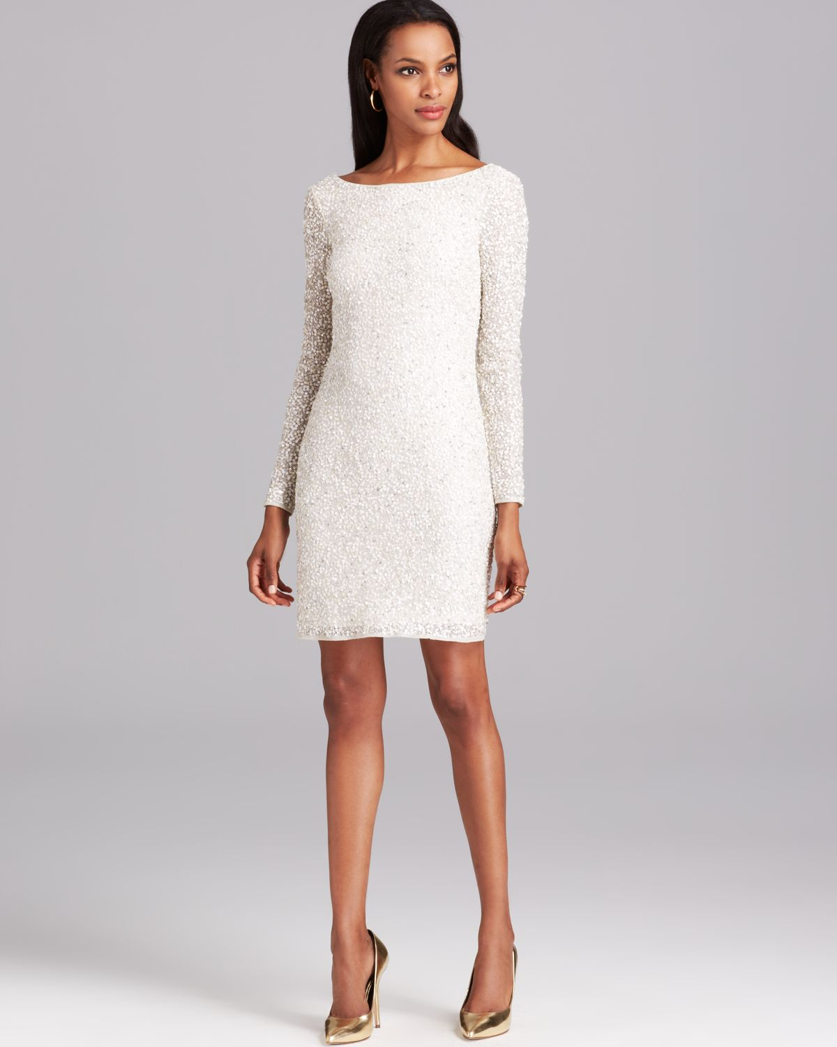 Short white dresses with long sleeves rare photo
