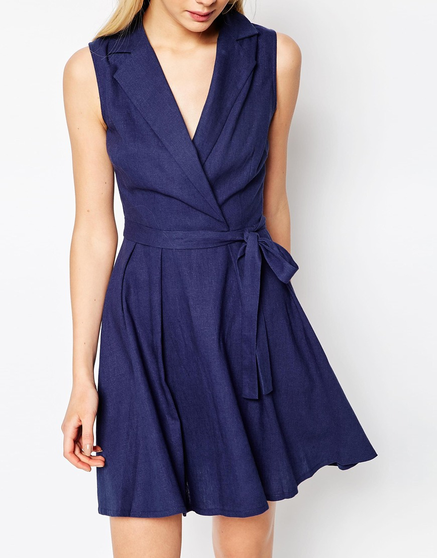 asos sleeveless linen mini shirt dress with belt in blue