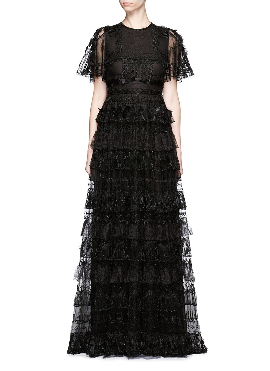 Valentino Lace Feather Bead Appliqué Tulle Gown in Black - Lyst