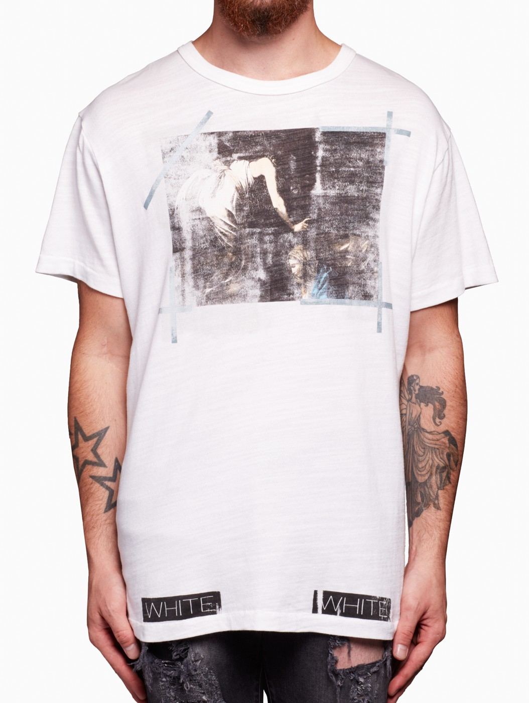 off white c o virgil abloh caravaggio t shirt in white for men lyst. Black Bedroom Furniture Sets. Home Design Ideas