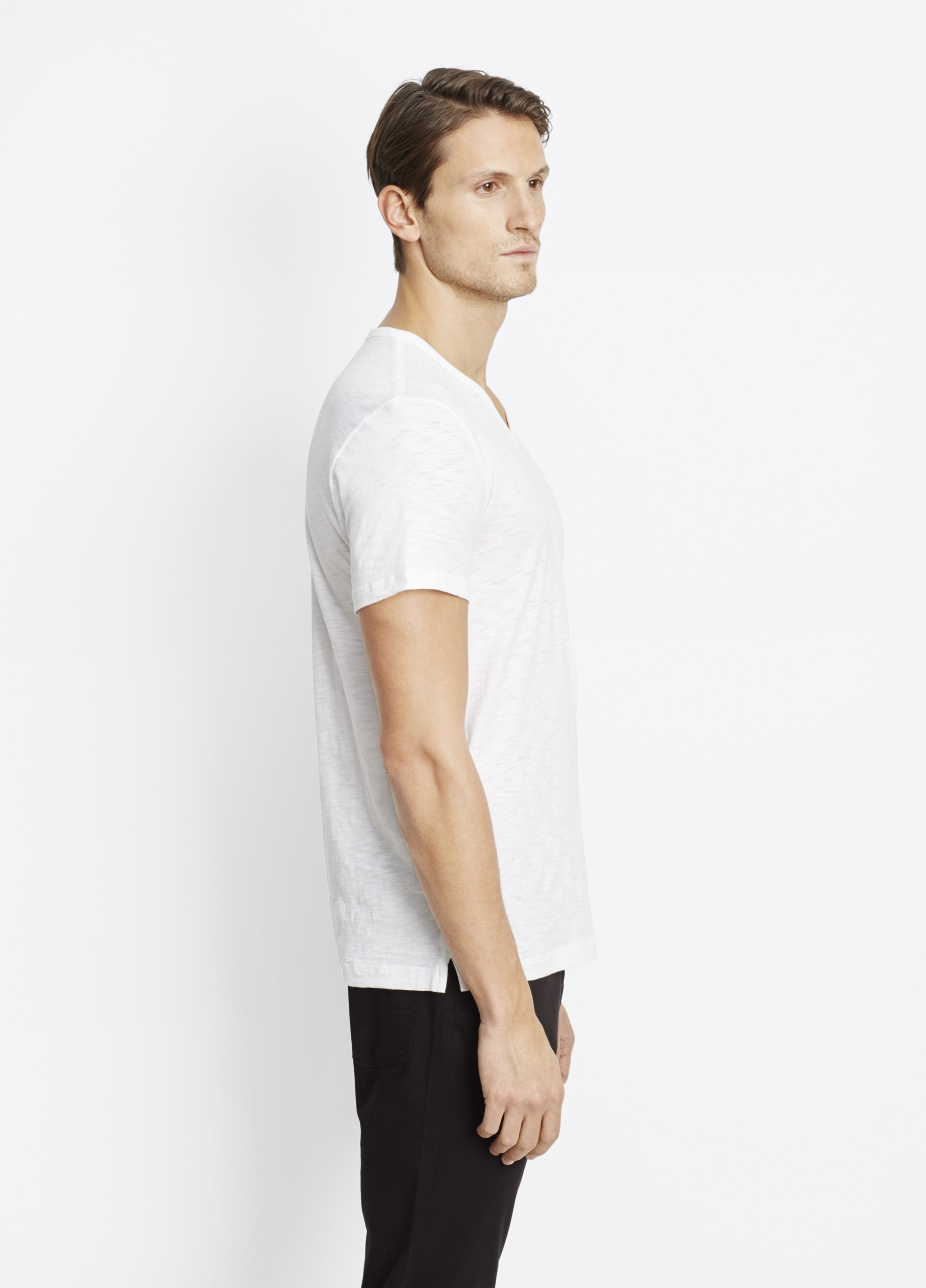 Vince slub cotton v neck tee in white for men lyst for Vince tee shirts sale