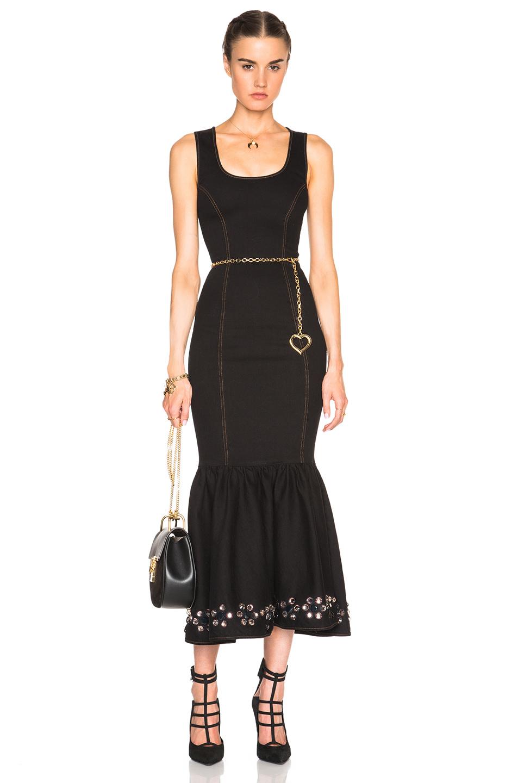 Lyst Alessandra Rich Stretch Denim Embellished Hem Dress
