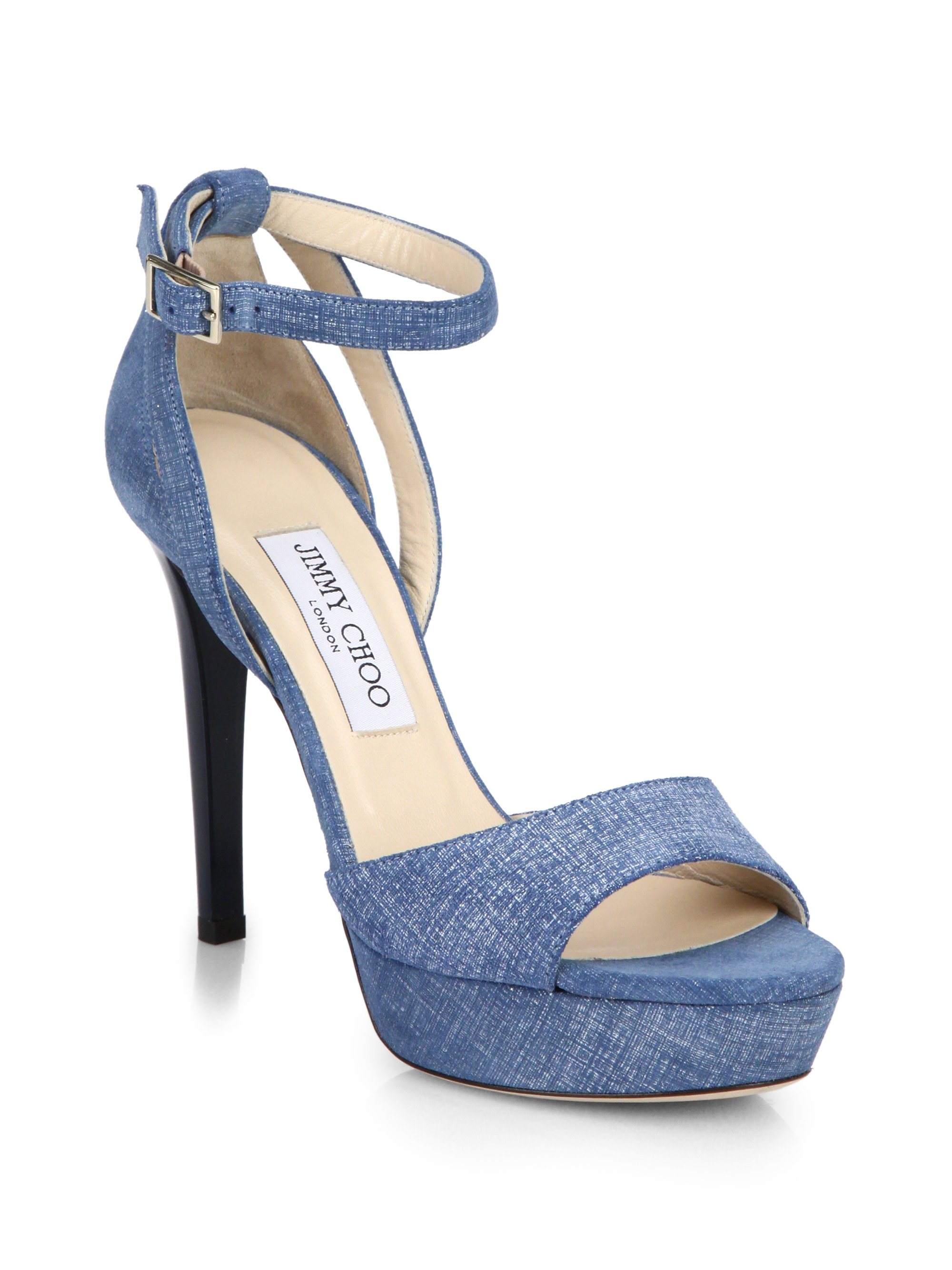 5f6efd469 Lyst - Jimmy Choo Kayden Denim Platform Sandals in Blue