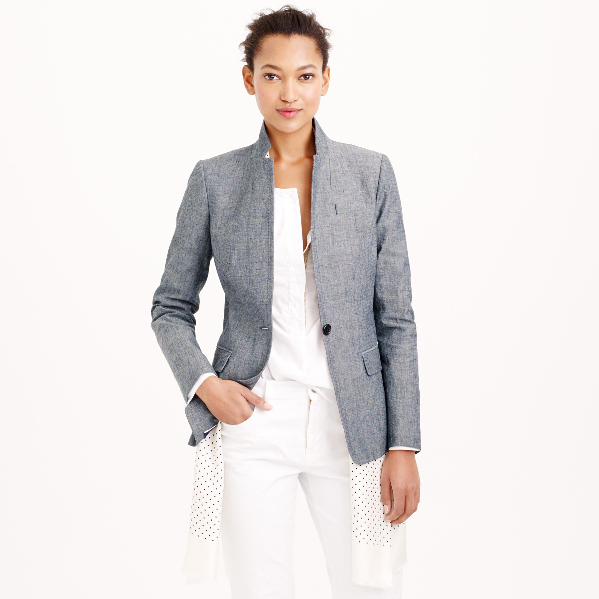 Petite blazer in chambray in blue lyst for Chambray 7 s