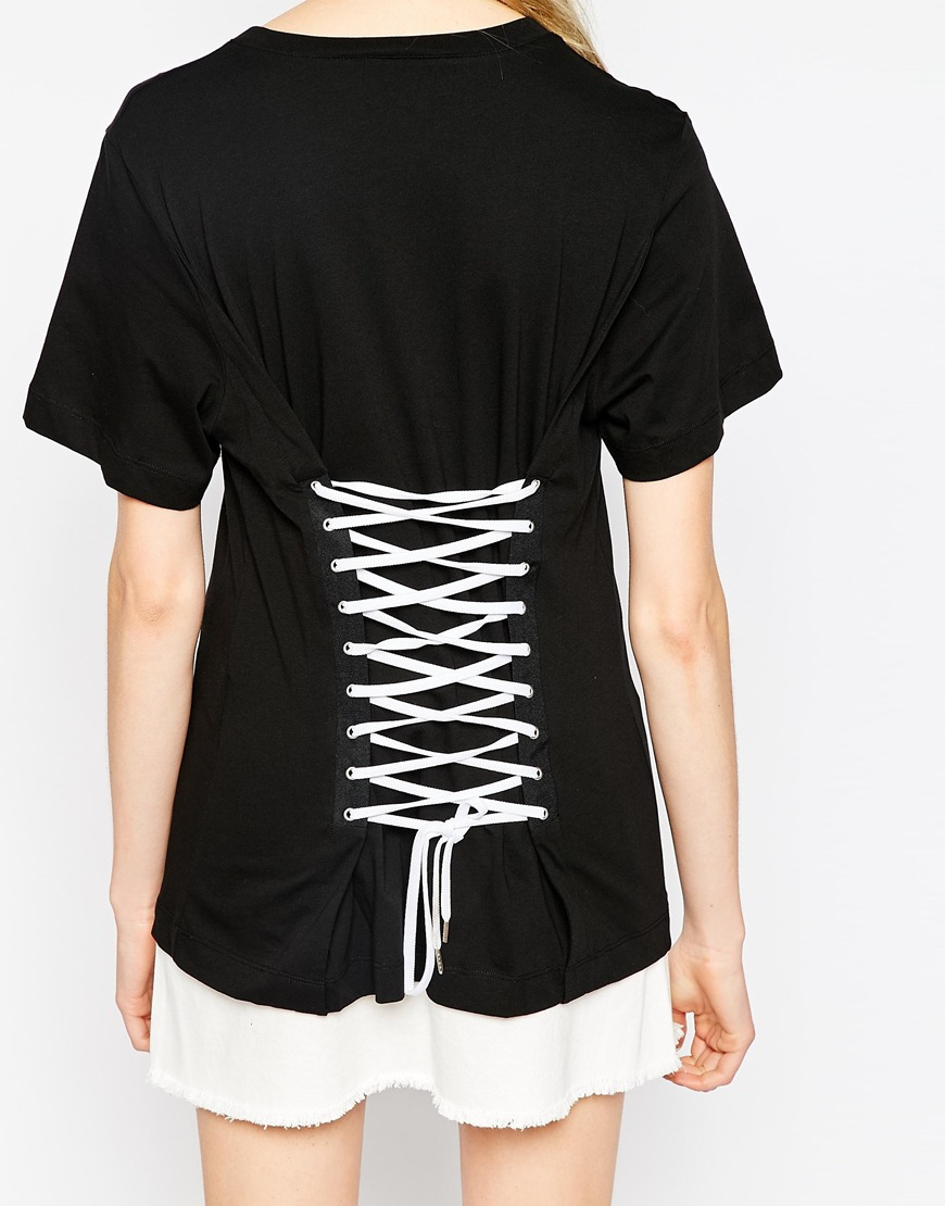 love moschino t shirt with lace up back in black lyst. Black Bedroom Furniture Sets. Home Design Ideas