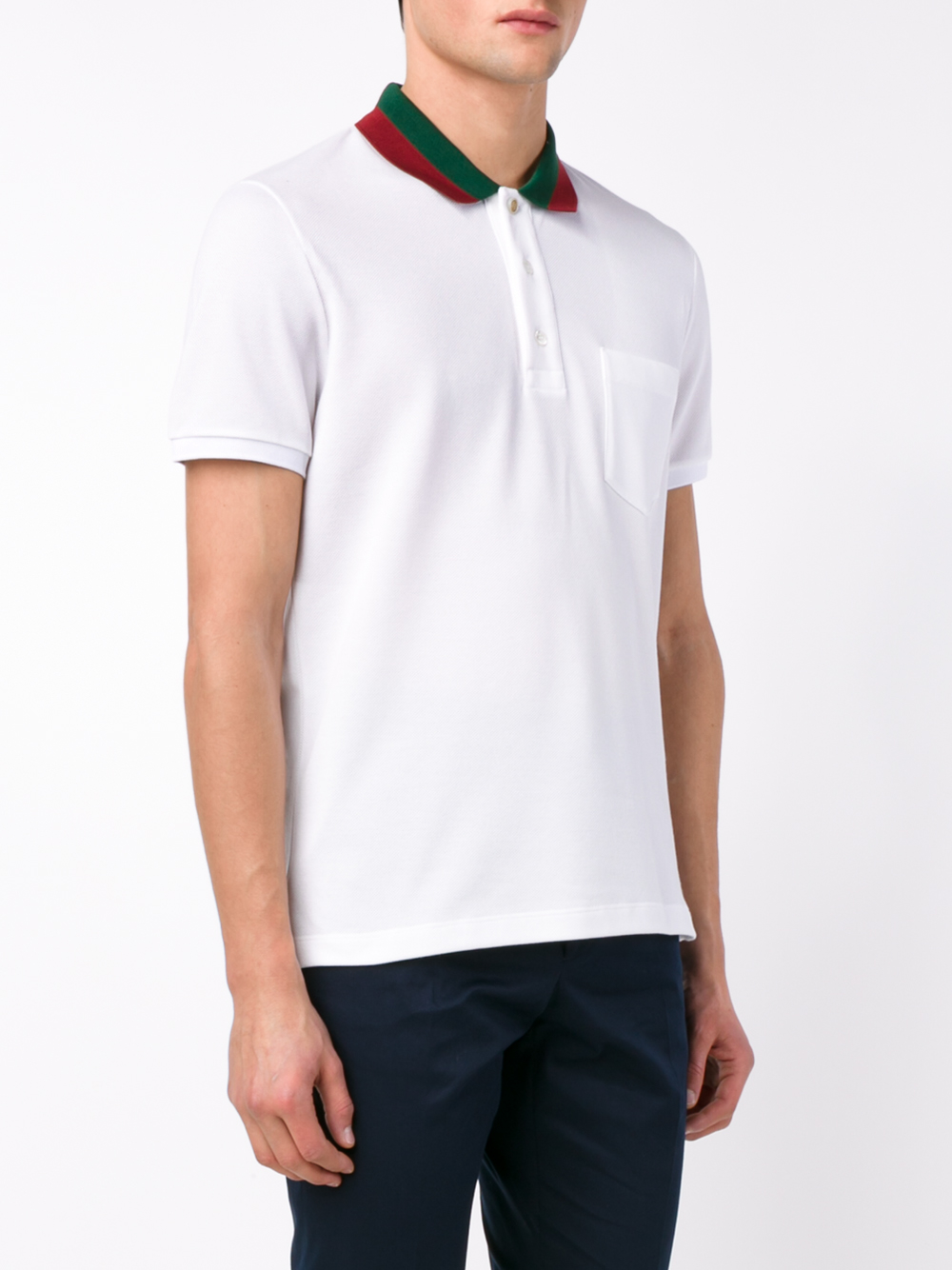 49b6f84cd38 Lyst - Gucci Striped Collar Polo T-shirt in White for Men