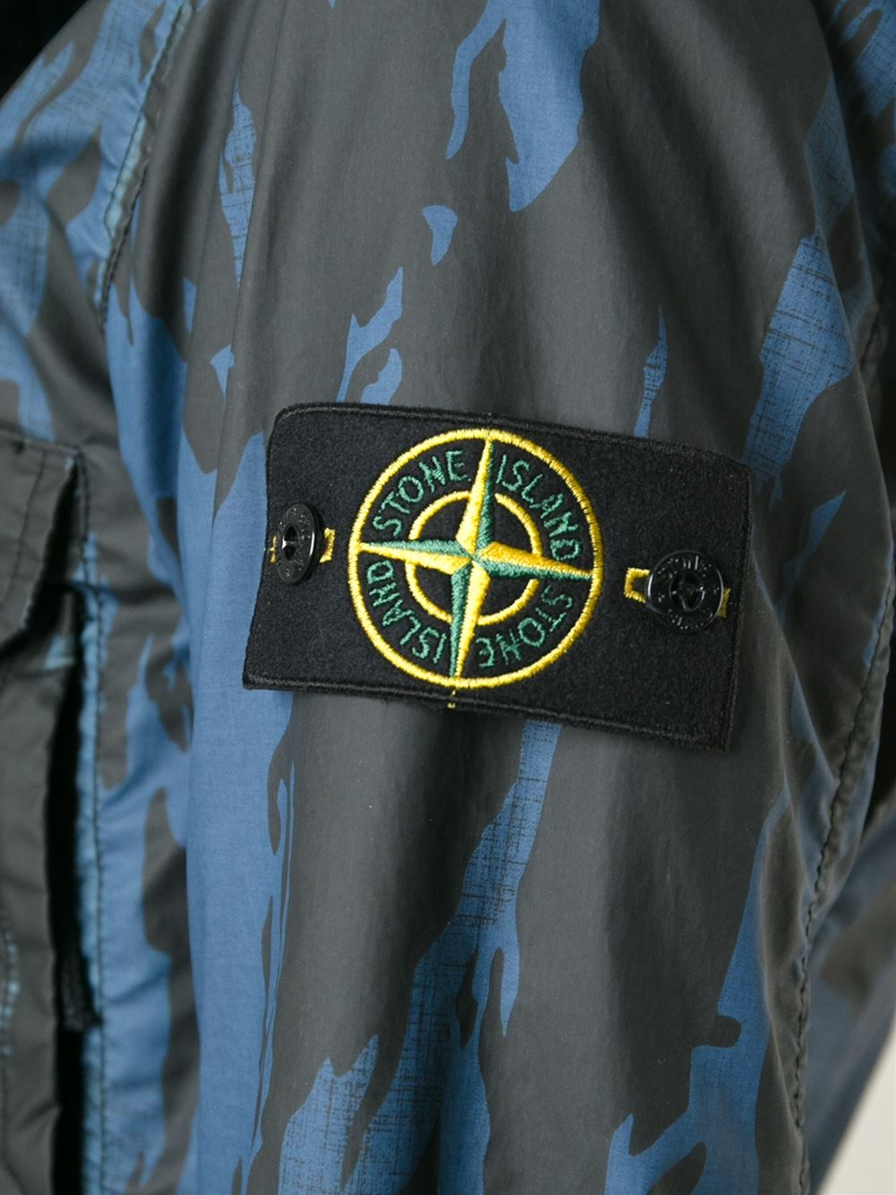 Stone Island Camouflage Print Jacket in Blue for Men - Lyst