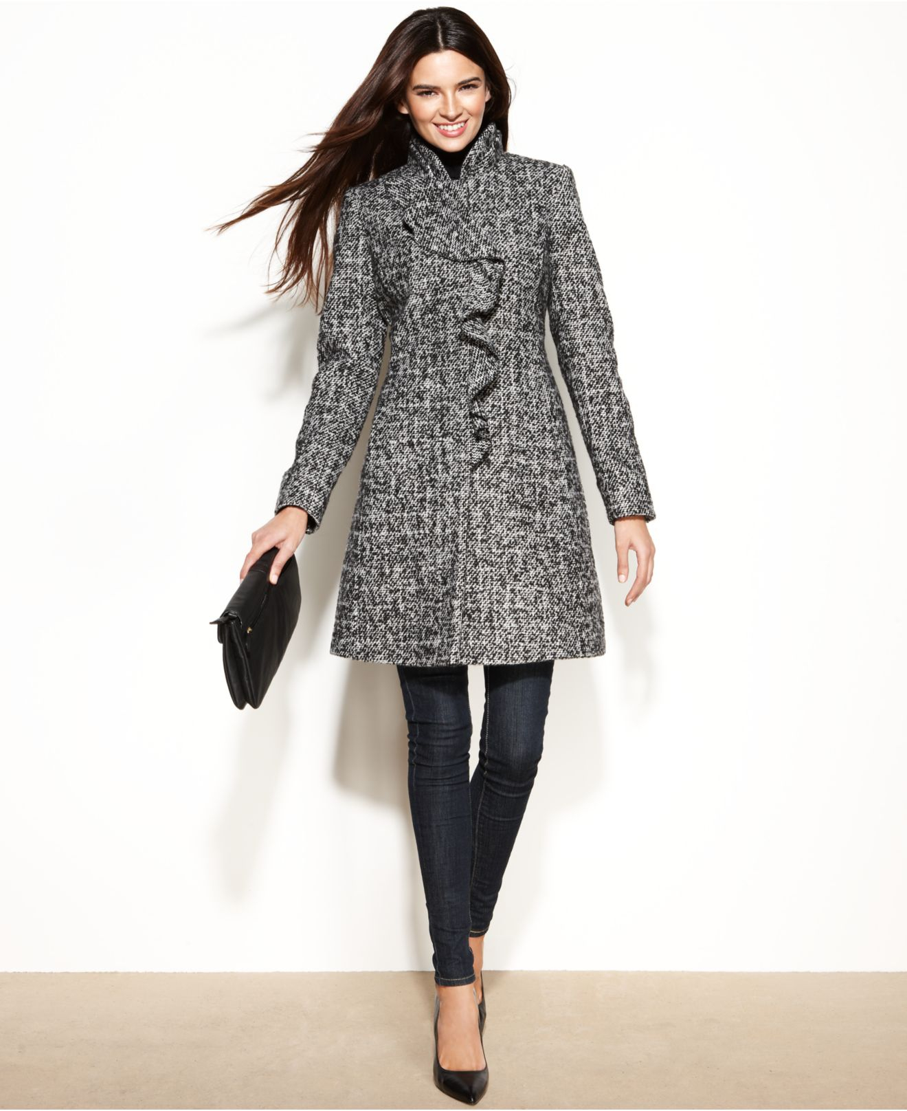 Dkny Petite Wool-Blend Ruffled Walker Coat in Black | Lyst
