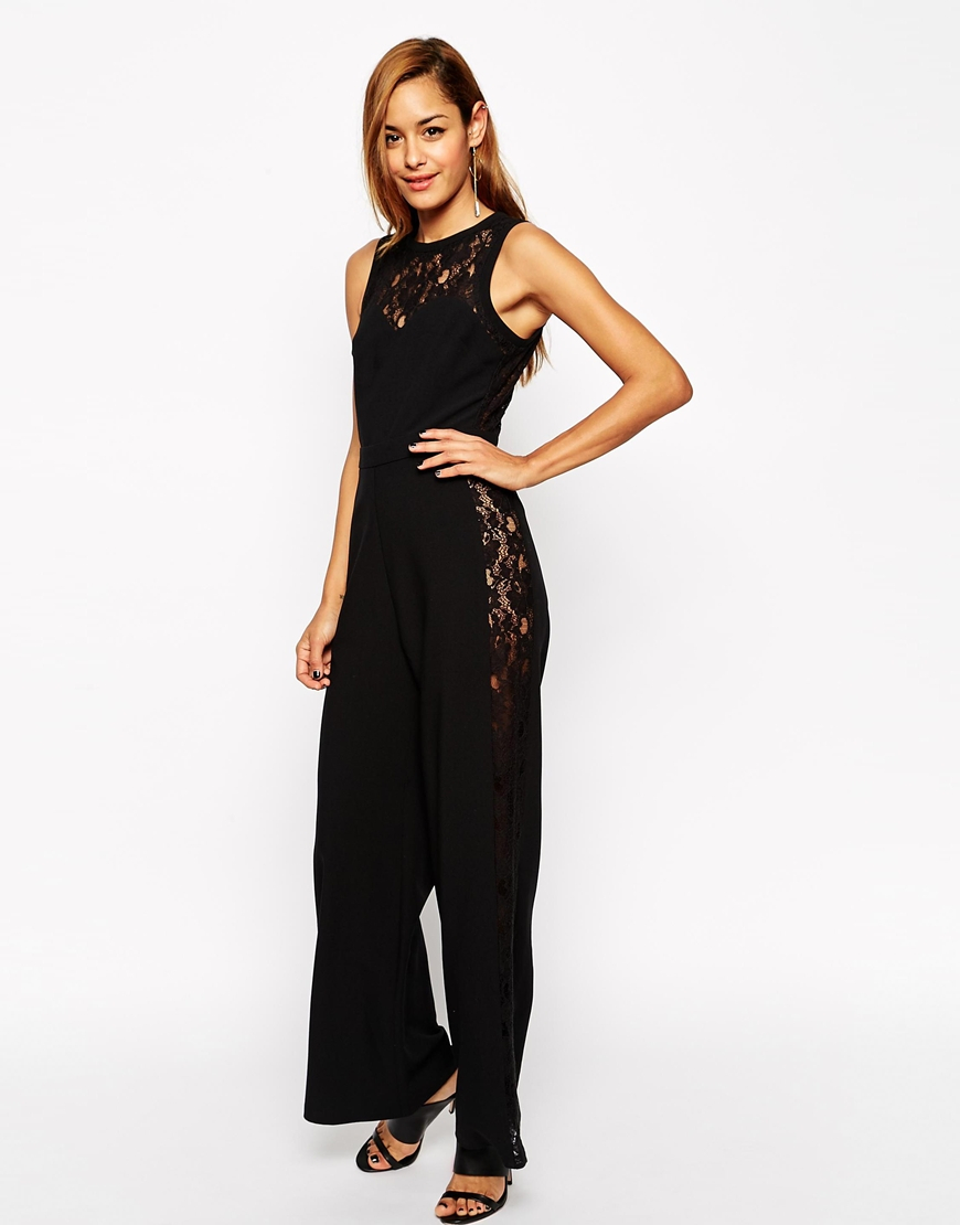 63aeb4dfdf4 Lyst - ASOS Jumpsuit With Lace Side Panel in Black