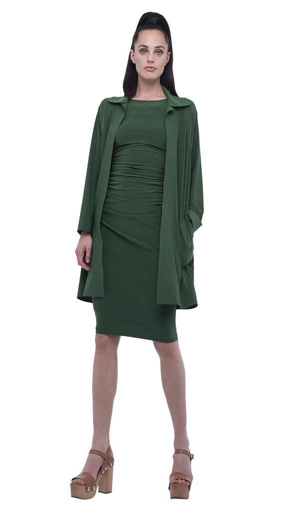Norma kamali shirred waist dress below knee in green lyst - Norma kamali costumi da bagno ...