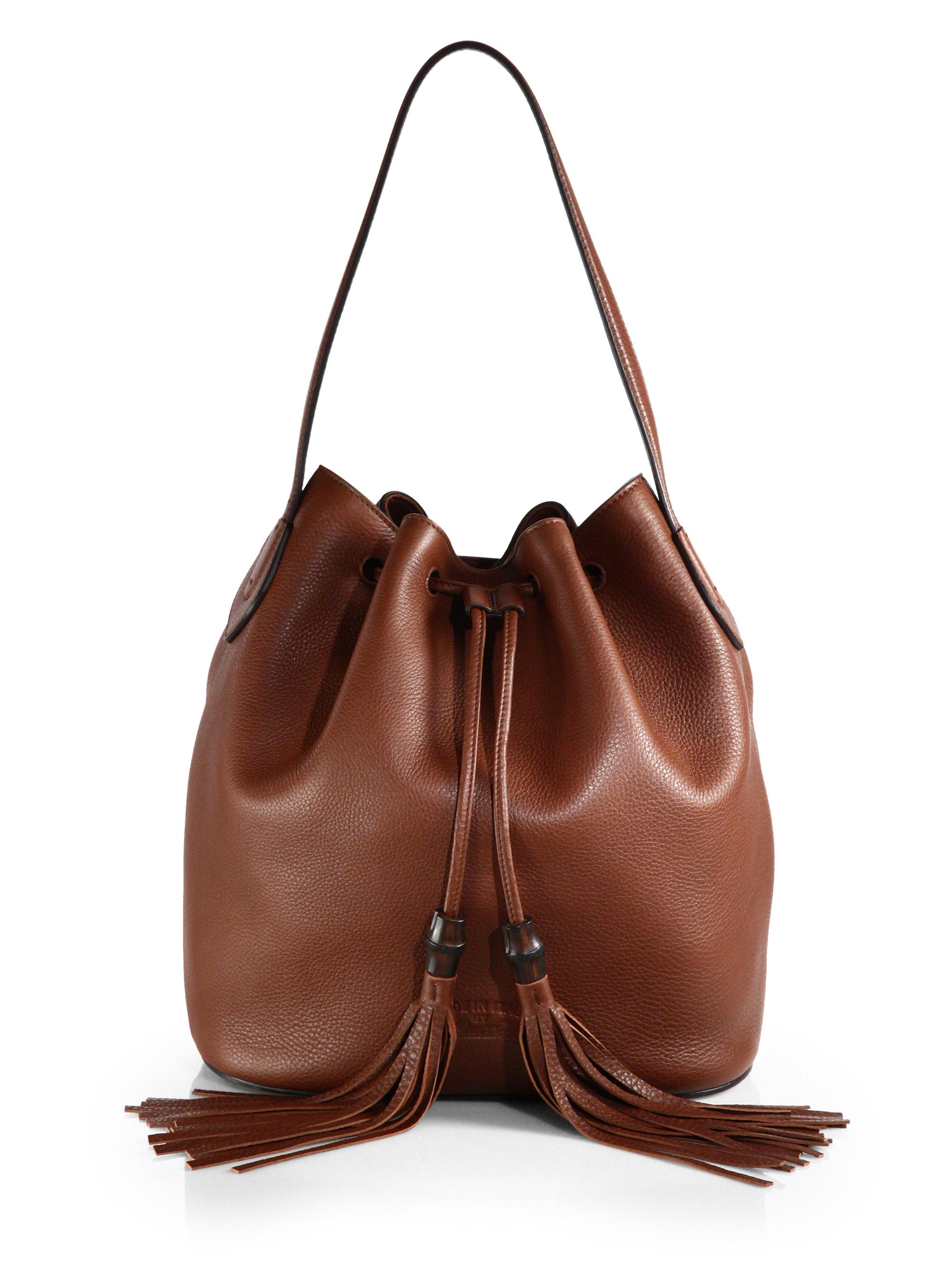 Gucci Lady Tassel Leather Bucket Bag In Brown Lyst
