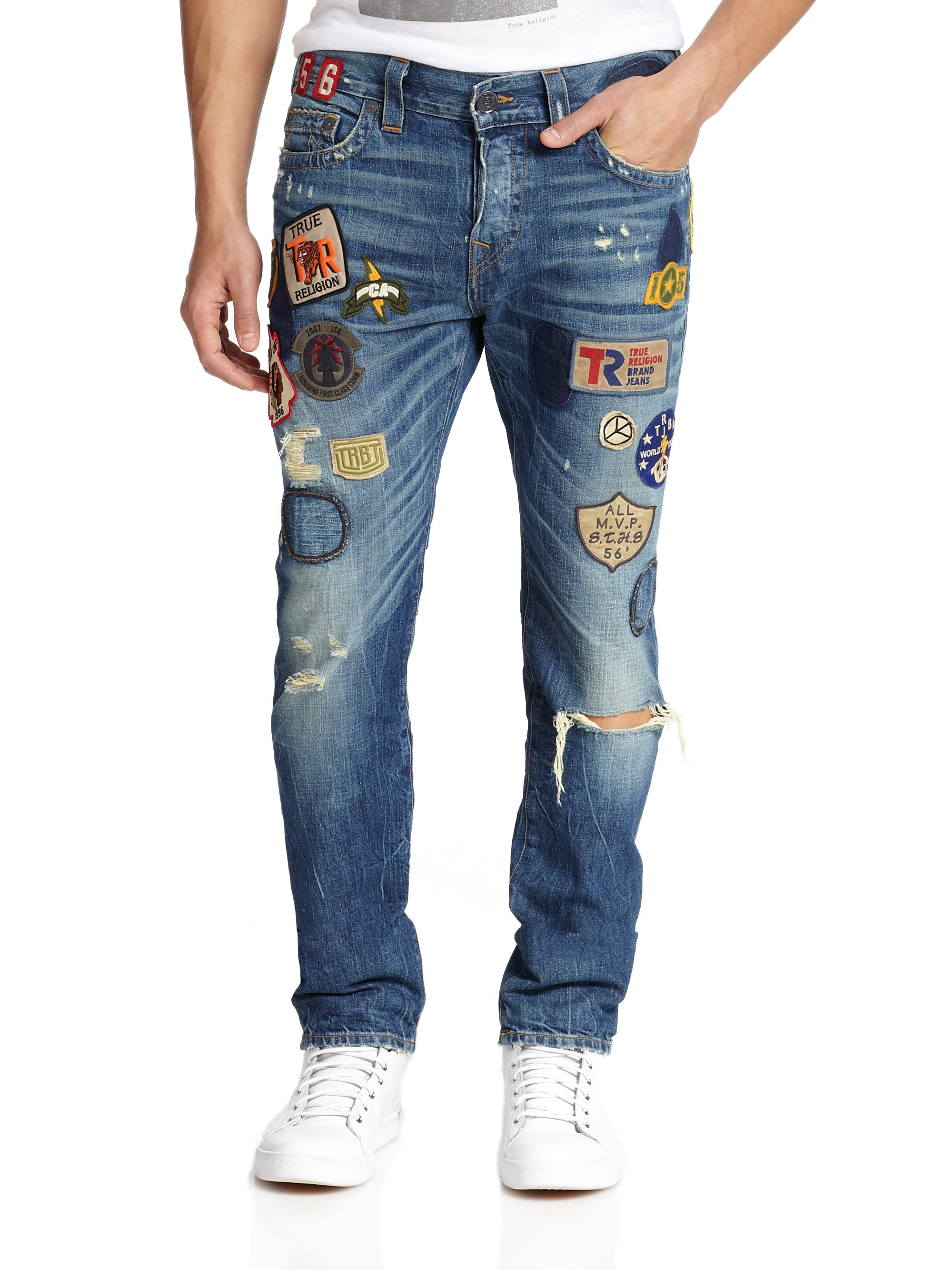 True religion Dean Patch-detail Distressed Jeans in Blue for Men ...
