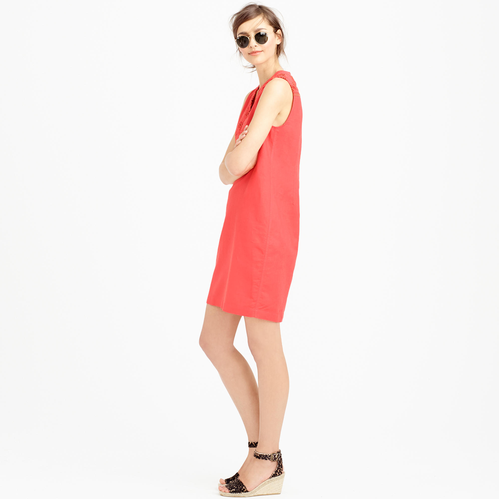 J Crew Petite Sleeveless Embroidered Sunburst Dress In Red