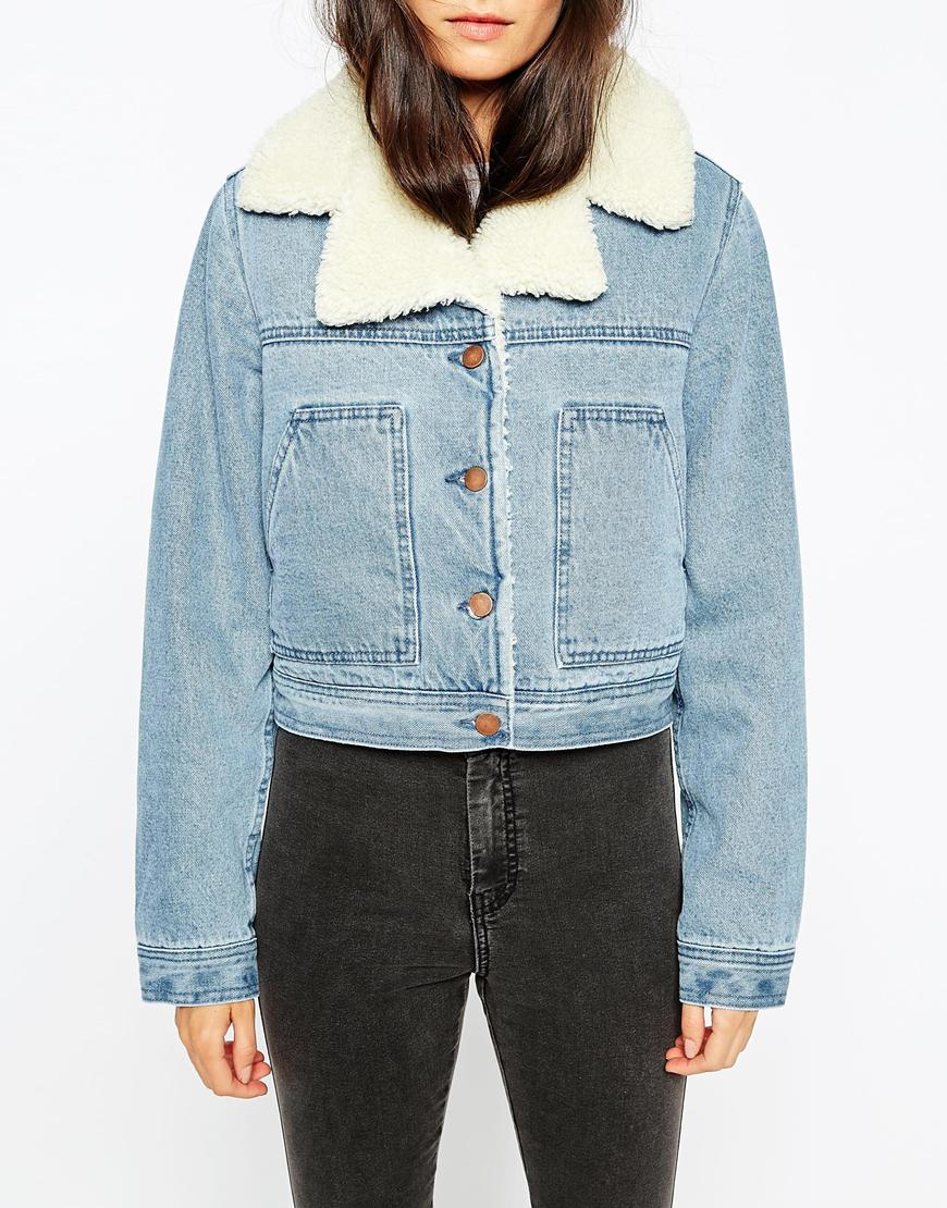 0bb06f1ef0 Lyst - ASOS Denim Cropped Jacket In Mid Stone Wash With Borg Lining ...