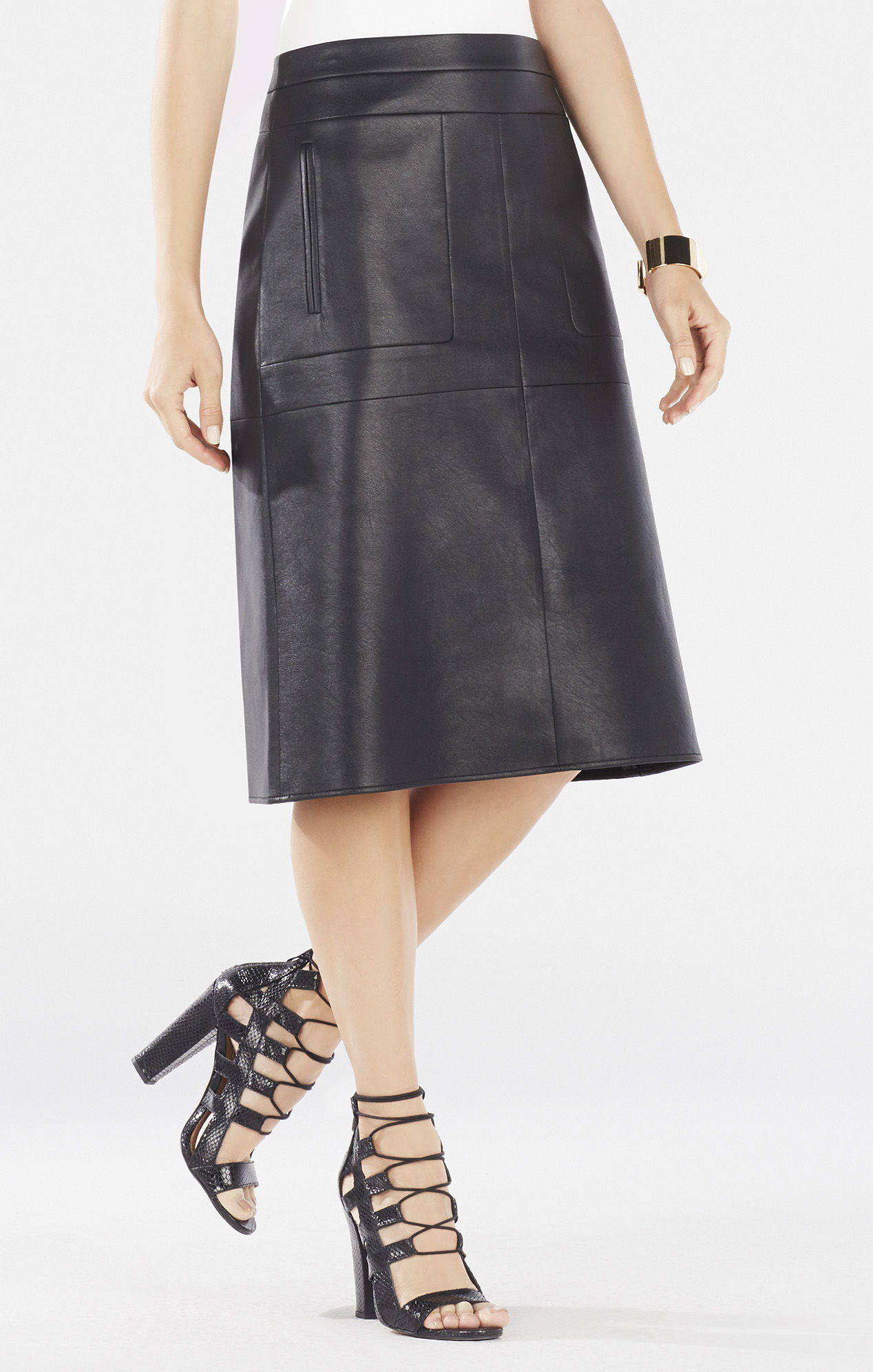 bcbgmaxazria margaux faux leather a line skirt in black lyst