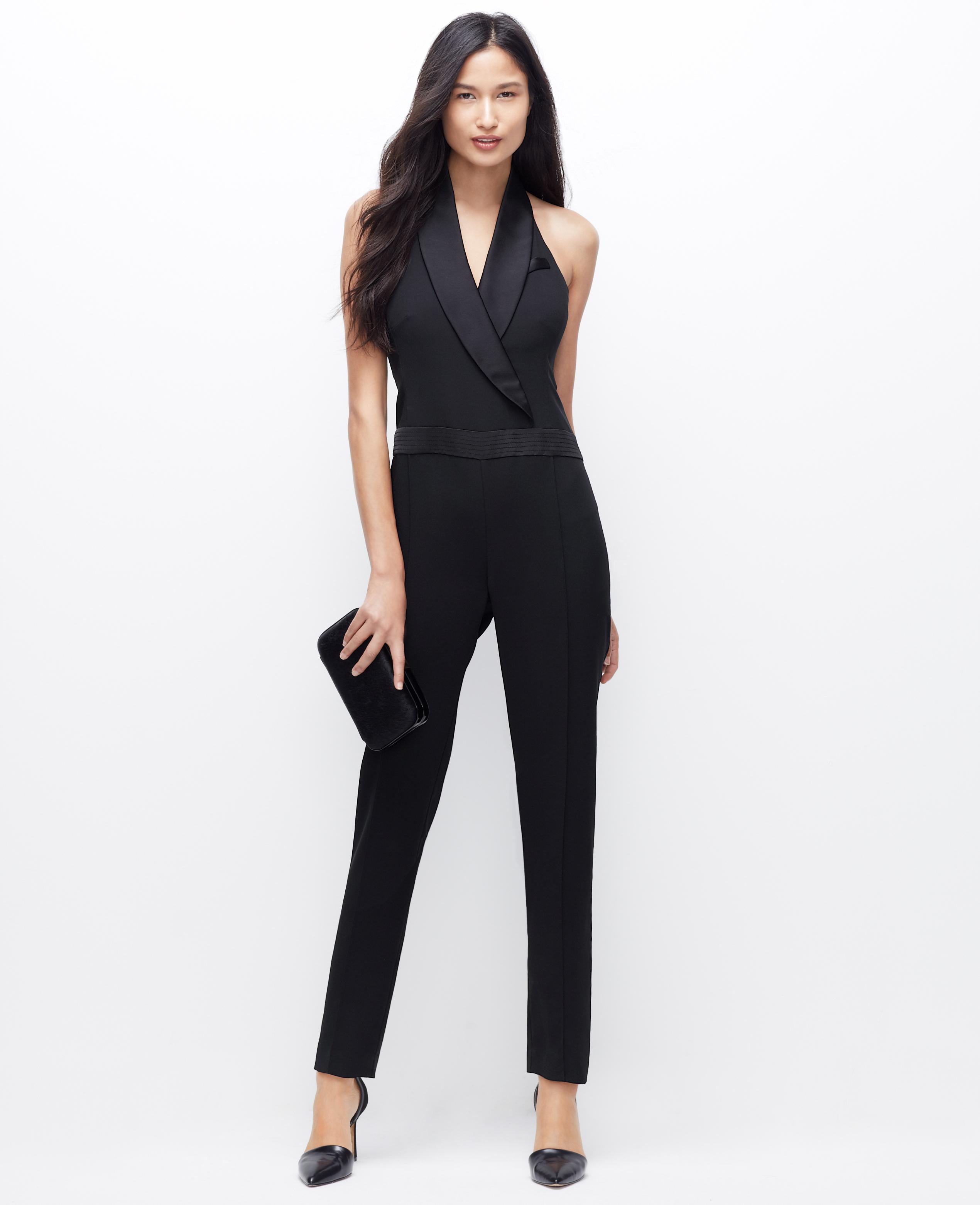 90776e21b31 Lyst - Ann Taylor Petite Tuxedo Jumpsuit in Black