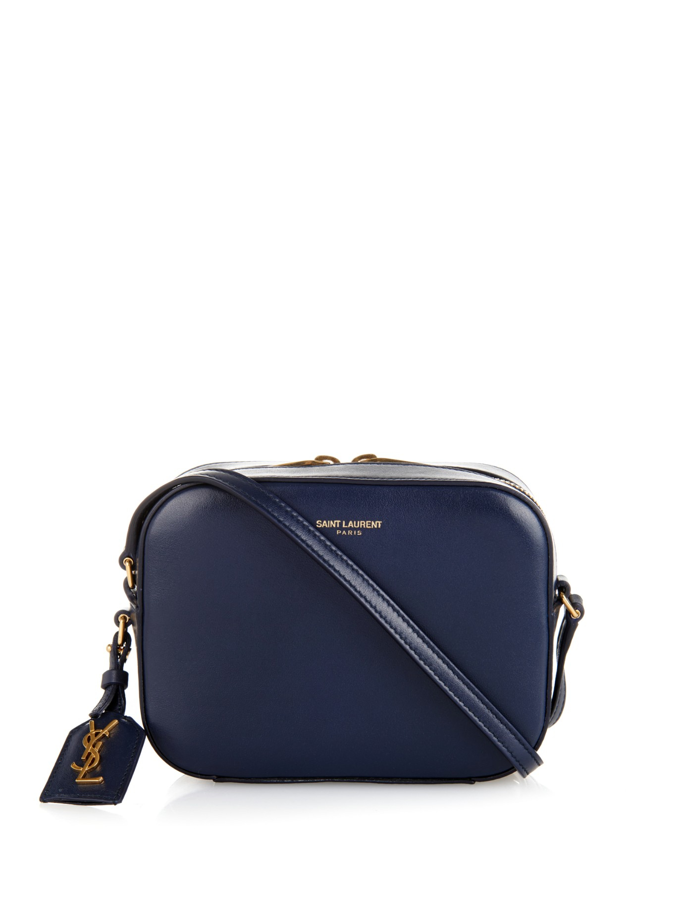 Saint laurent Small Leather Camera Bag in Blue | Lyst