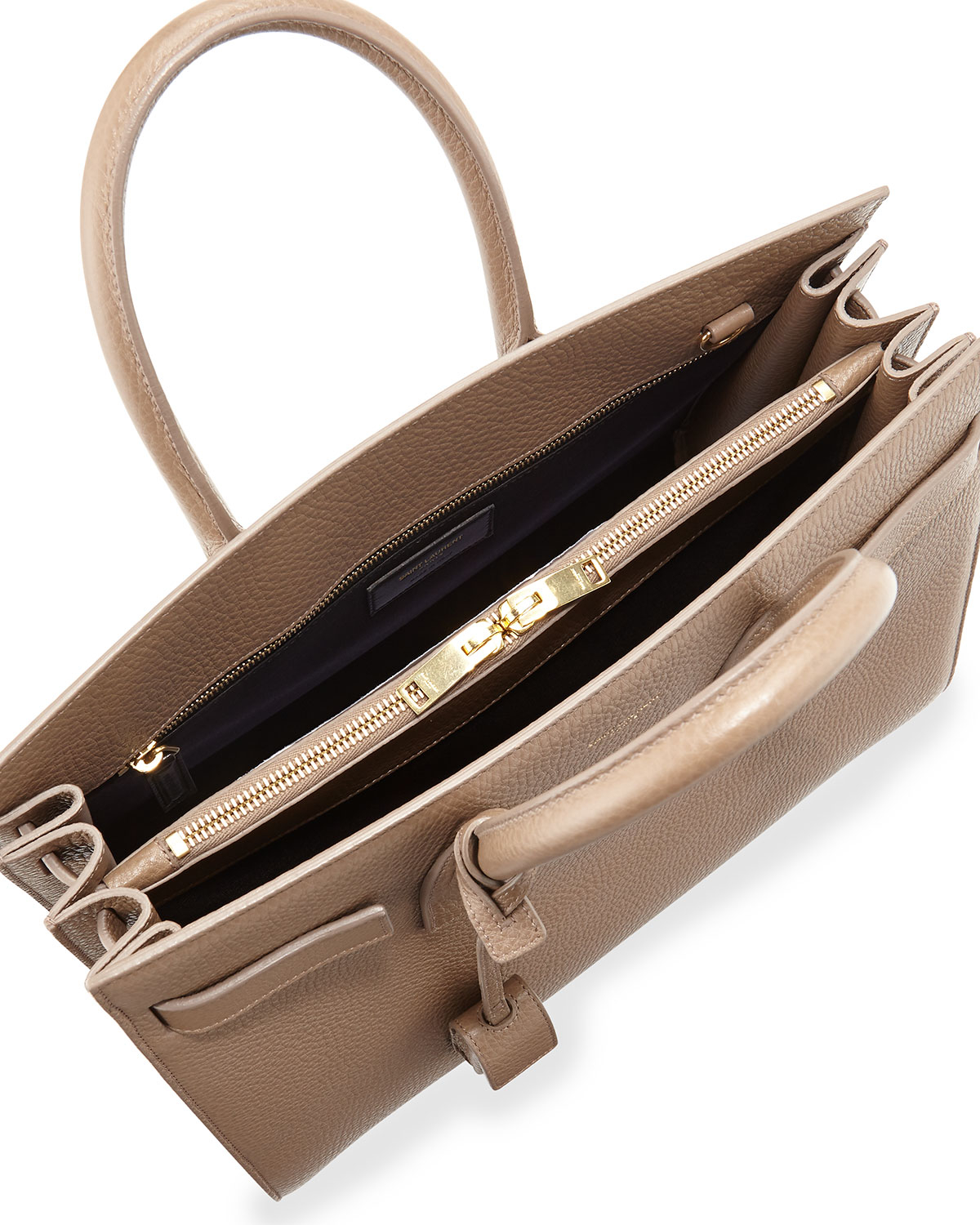 Small Cabas Rive Gauche Bag In Fog Grained Leather