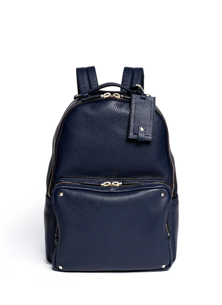 Valentino Studded Leather Backpack In Blue For Men Blue