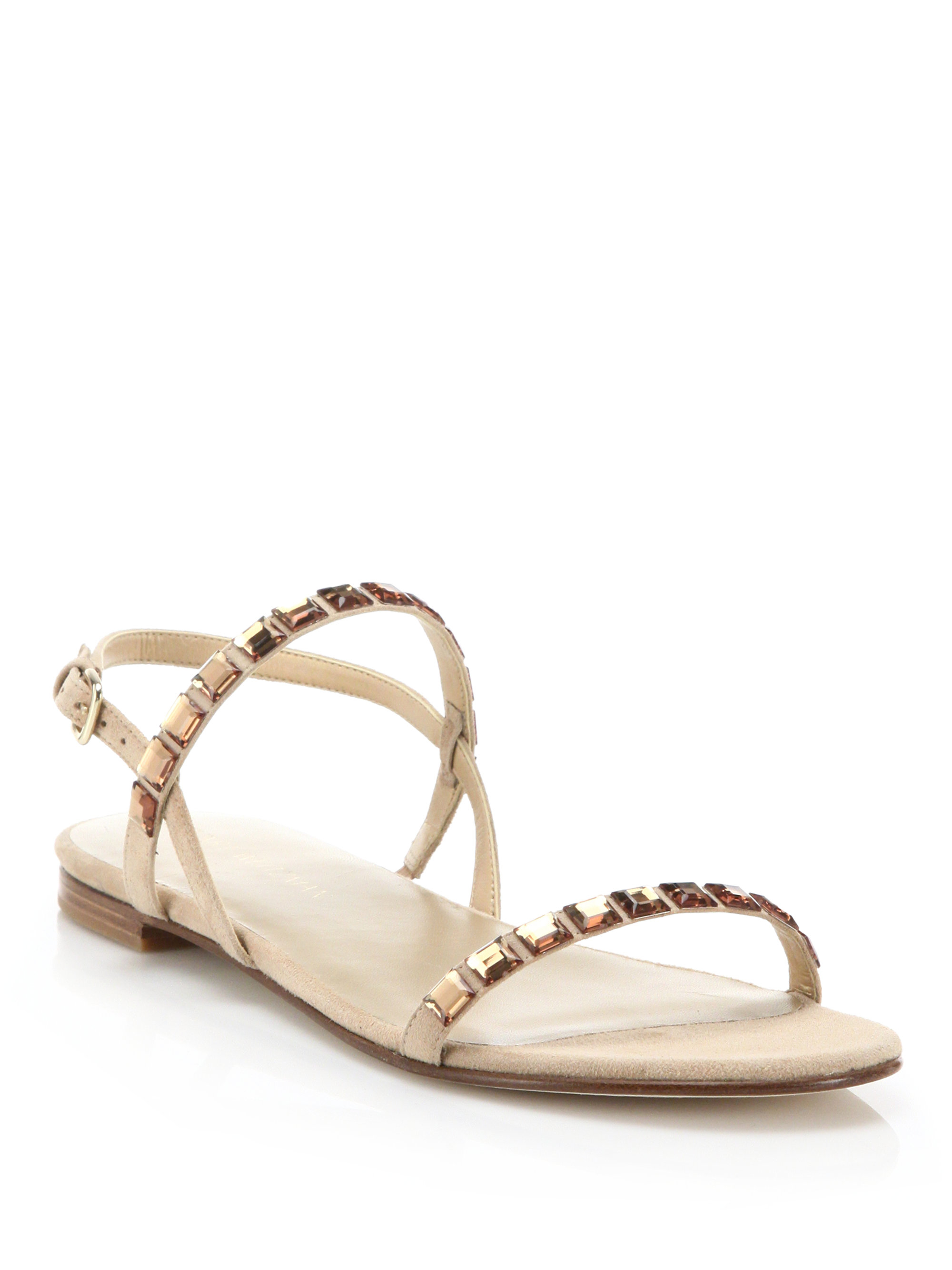 f41e2135165d62 Lyst - Stuart Weitzman Trailmix Jeweled Suede Flat Sandals in Natural