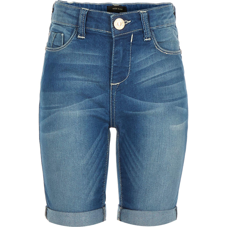 Lyst - River Island Girls Blue Denim Knee Length Shorts in Blue