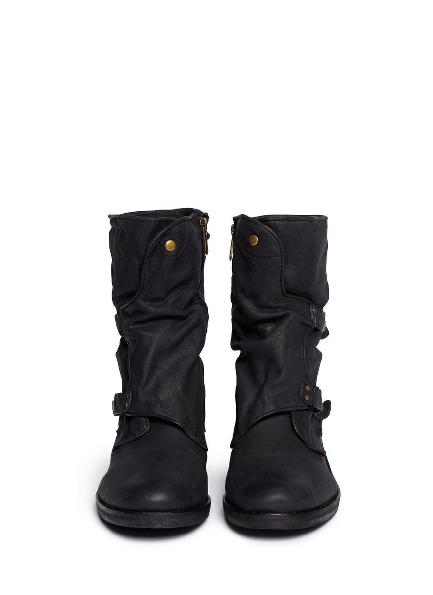 14f0daeb3 Lyst - Sam Edelman  ridge  Latch Strap Leather Boots in Black