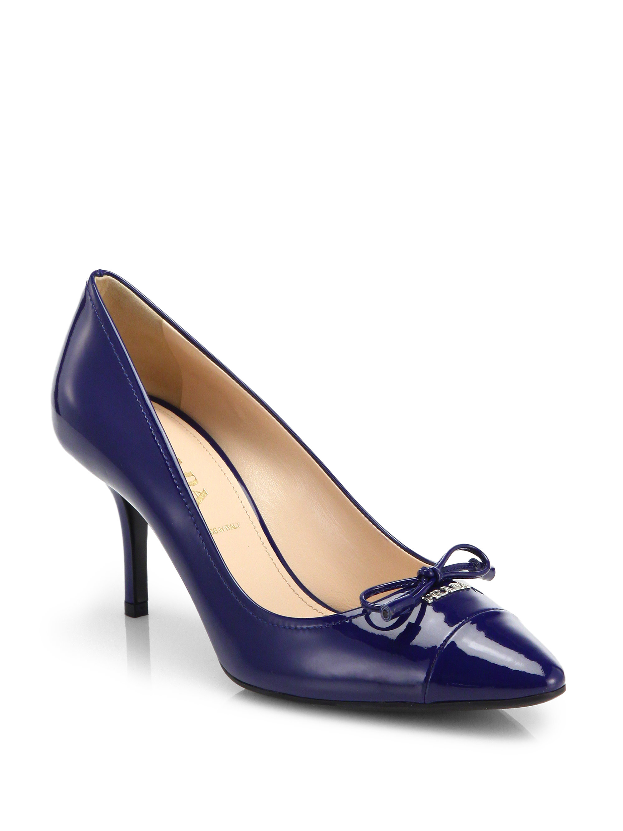 Lyst Prada Patent Leather Bow Pumps In Blue