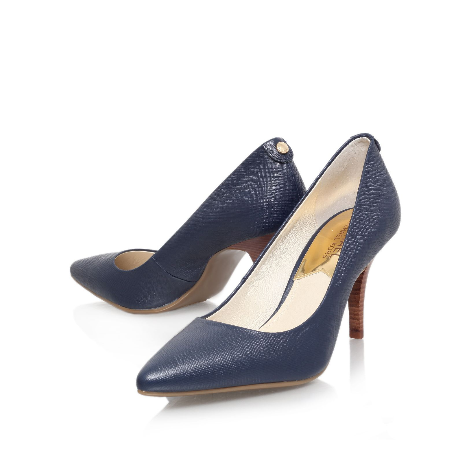 michael kors mk flex high heel court shoes in blue lyst