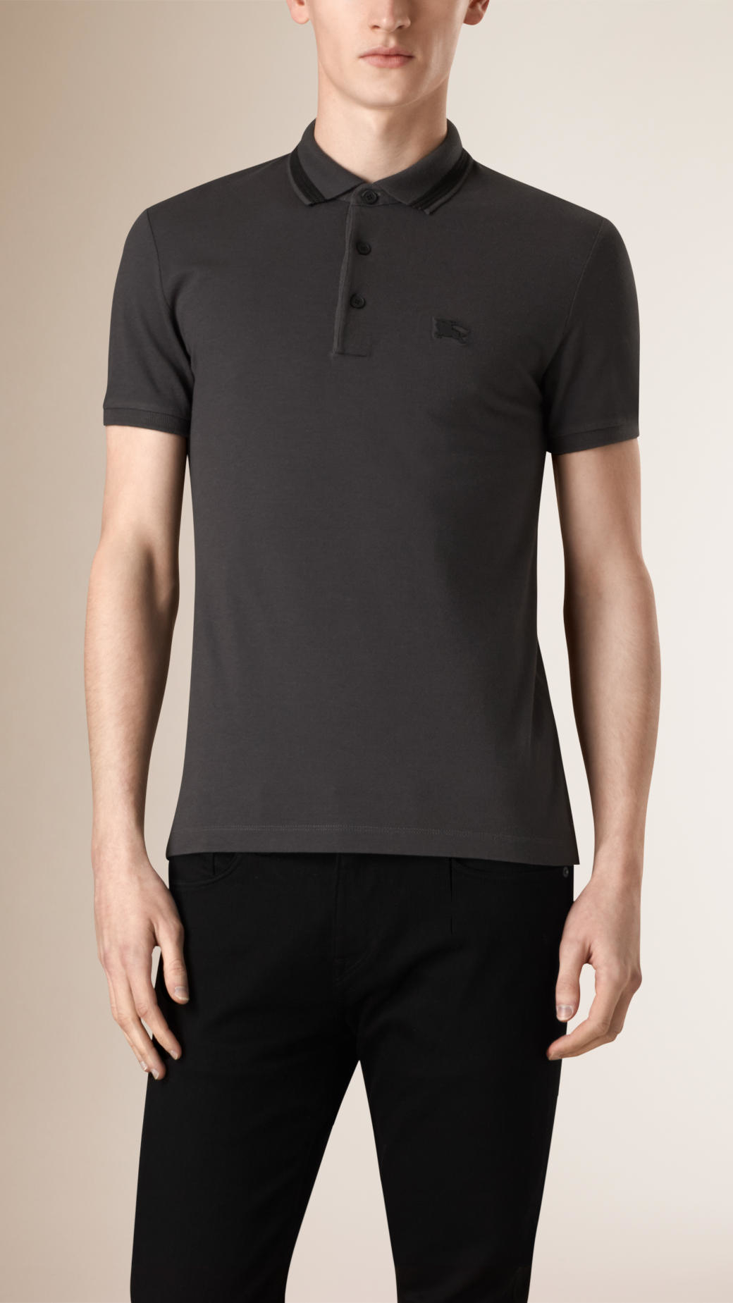 Burberry Ribbed Tipping Cotton Silk Polo Shirt Dark Grey
