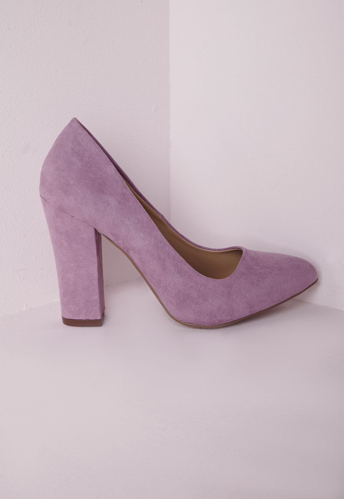2887b01a32fc Lyst - Missguided Block Heel Court Shoes Lilac in Purple
