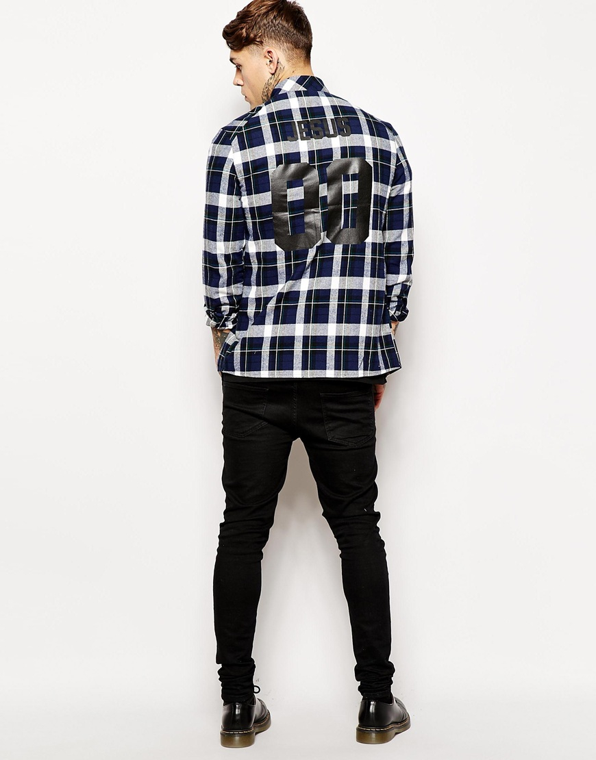 lyst eleven paris check shirt with jesus back print in blue for men. Black Bedroom Furniture Sets. Home Design Ideas