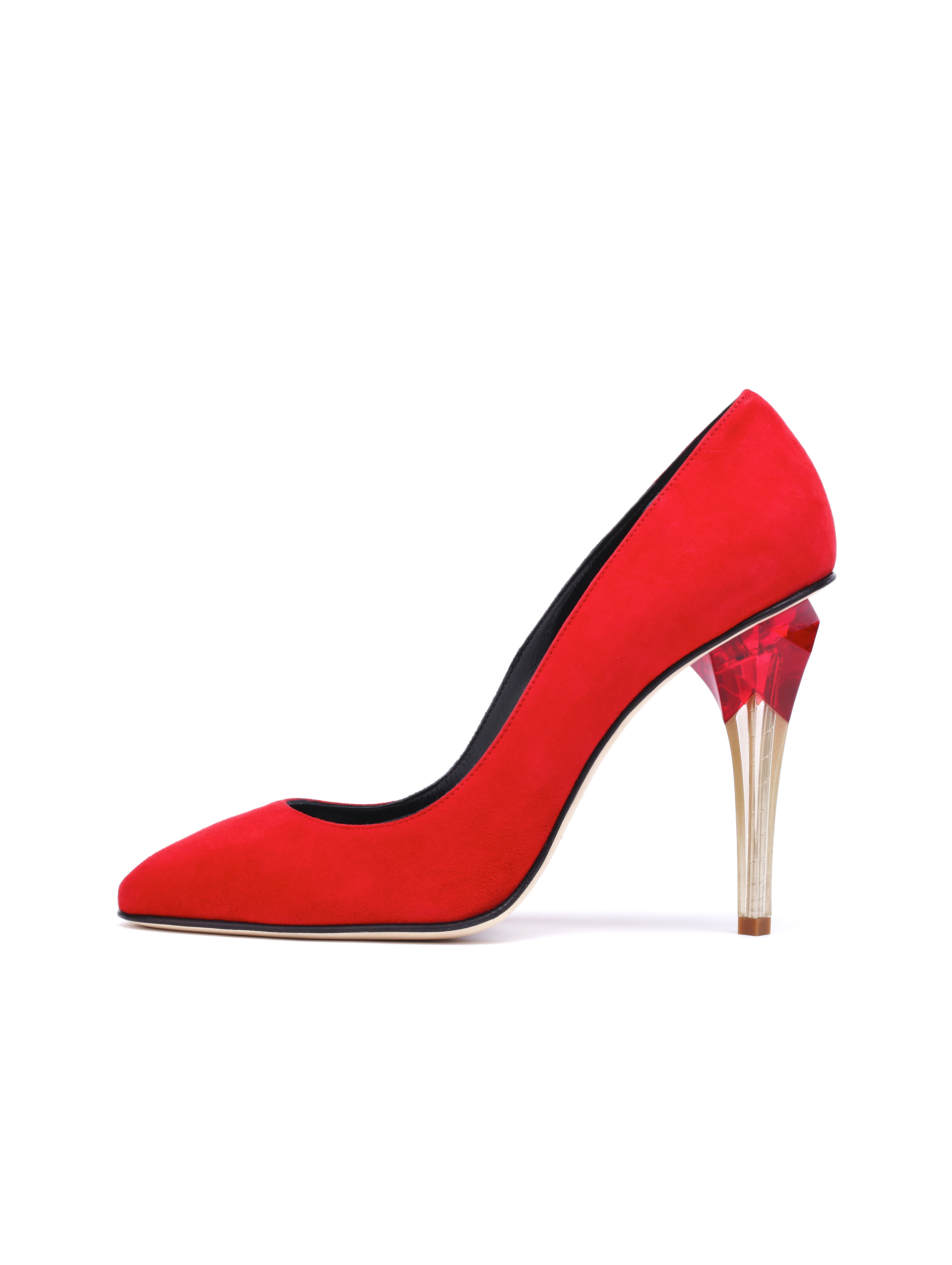 Lyst - Oscar de la Renta Suede Pia Pumps With Lucite Heel in Red