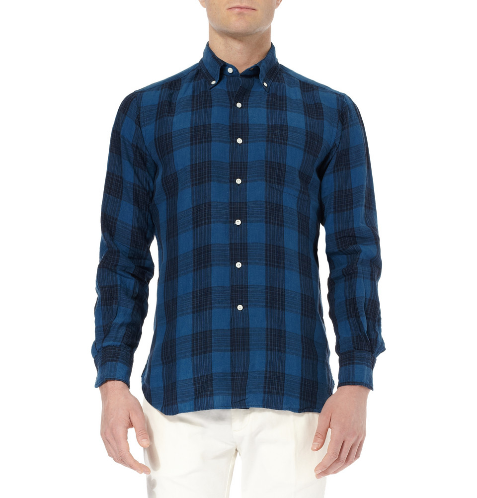 Ovadia and sons midwood check indigo dyed linen button for Indigo button down shirt