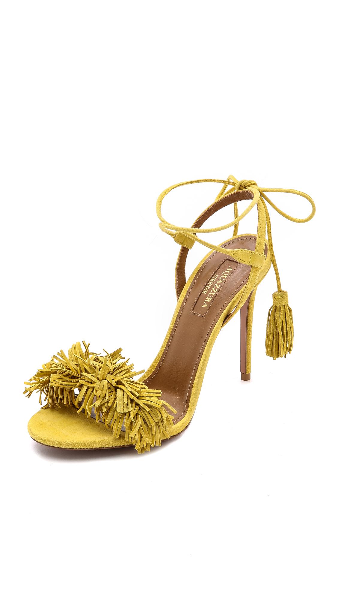 be9743987d5 Aquazzura Wild Thing Fringe Sandals - Tulip Yellow in Yellow - Lyst