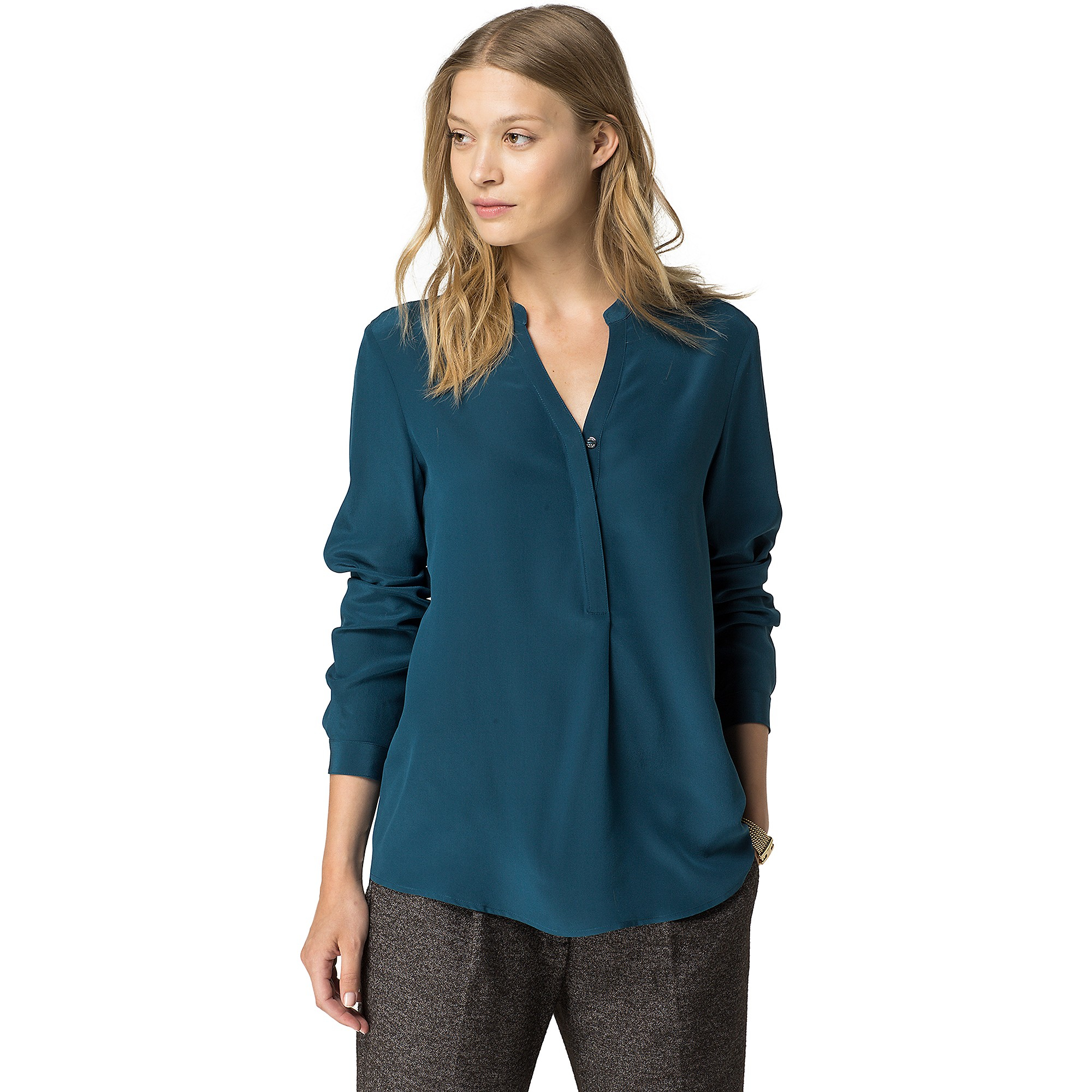 tommy hilfiger silk teal blouse in teal deep teal lyst. Black Bedroom Furniture Sets. Home Design Ideas