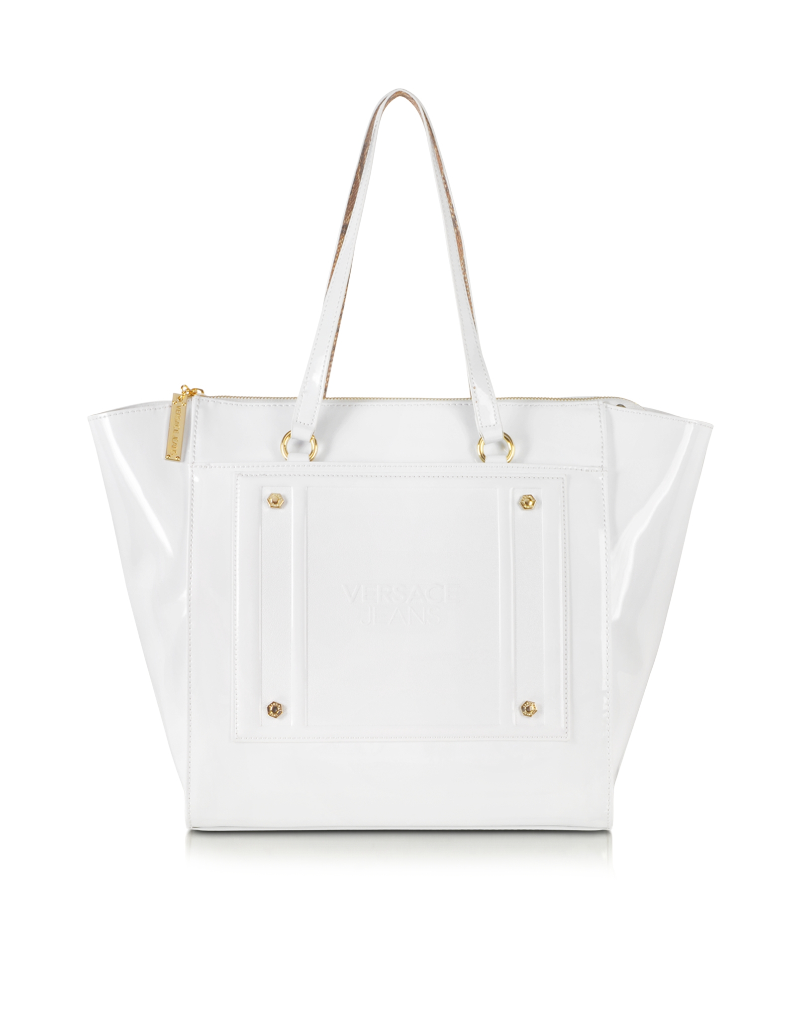 Versace jeans White Patent Eco Leather Tote in White | Lyst
