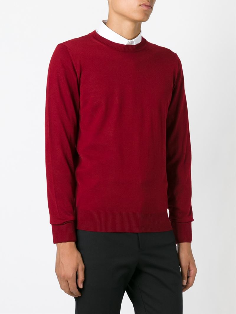 emporio armani crew neck sweater in red for men lyst. Black Bedroom Furniture Sets. Home Design Ideas