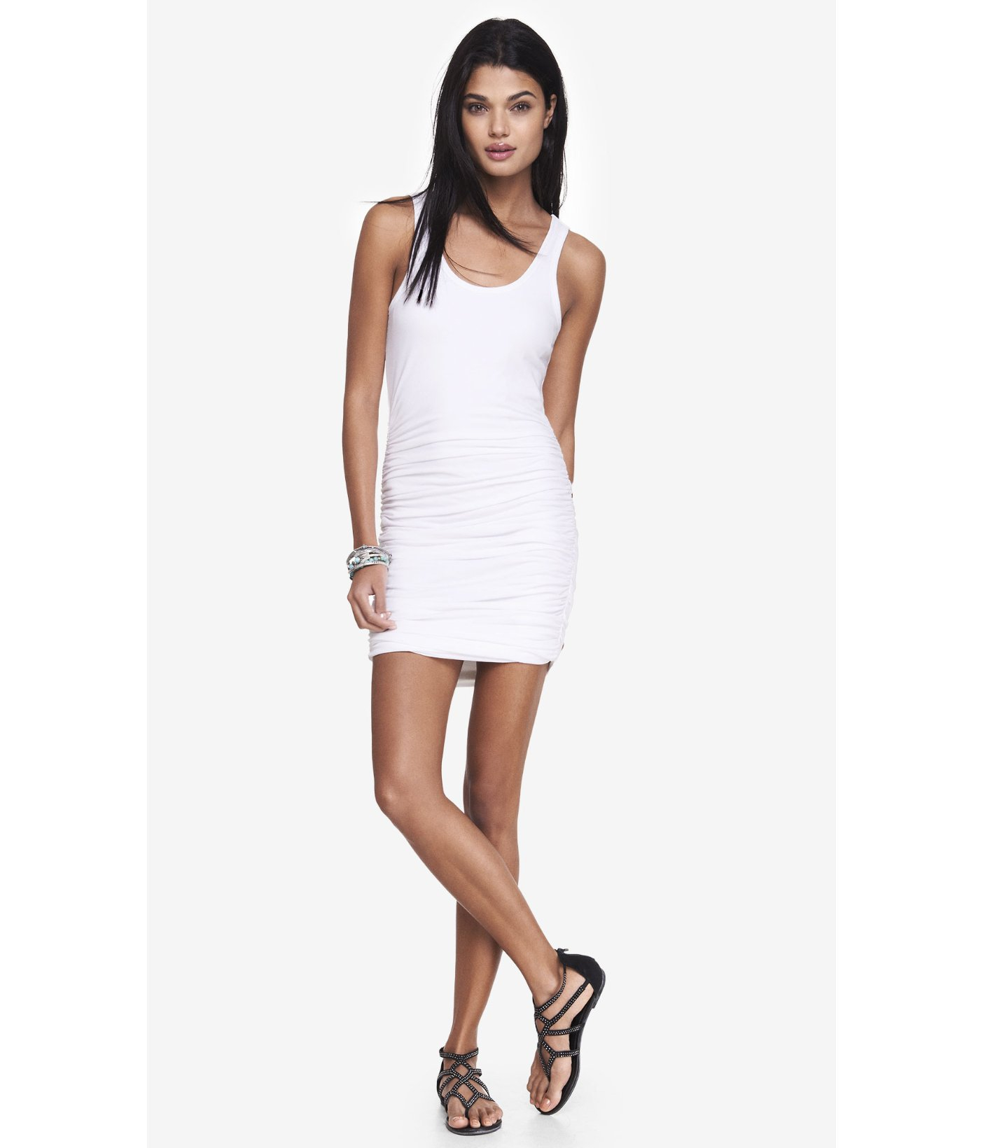 fda9b27c28 Lyst - Express White Ruched Tank Dress in White