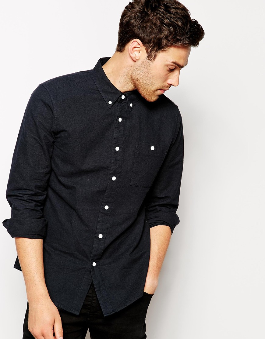 Asos Brushed Oxford Shirt In Black With Long Sleeves in Black for ...
