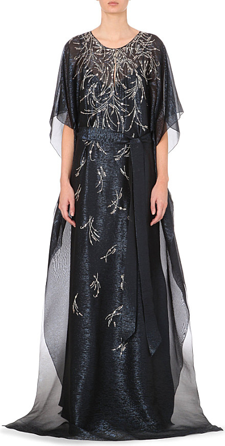Lyst - Oscar De La Renta Embellished Silk-Blend Maxi Kaftan Dress ...